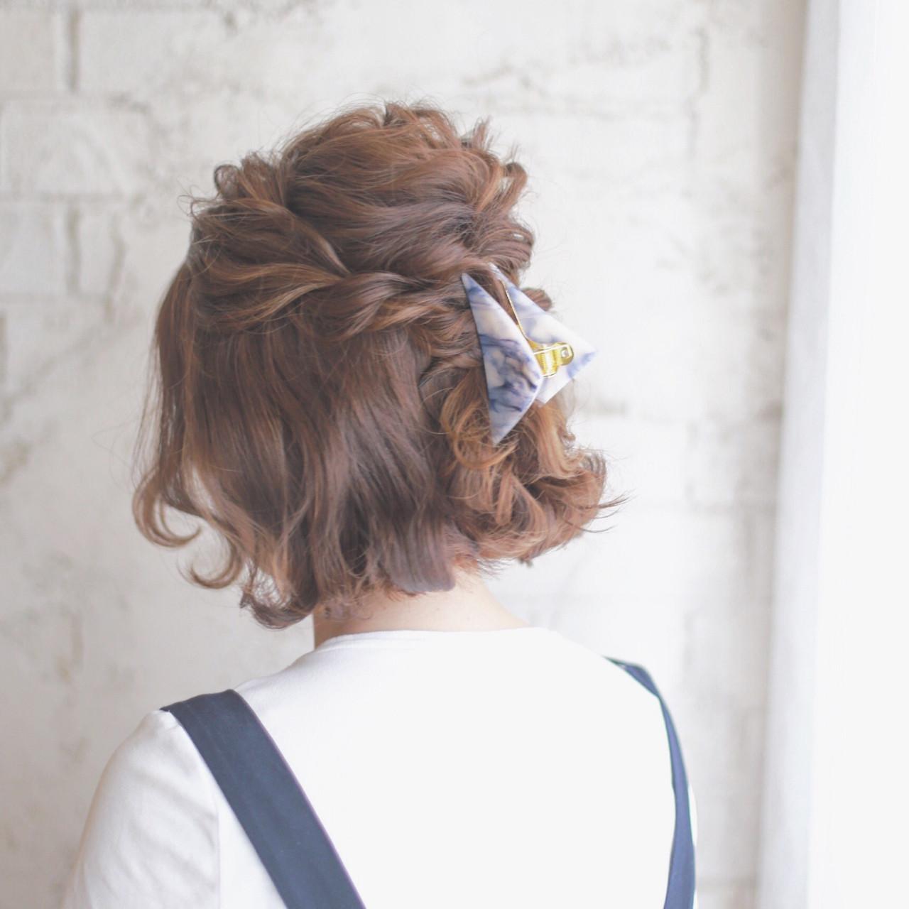 ショート ハイライト ハーフアップ ボブ ヘアスタイルや髪型の写真・画像