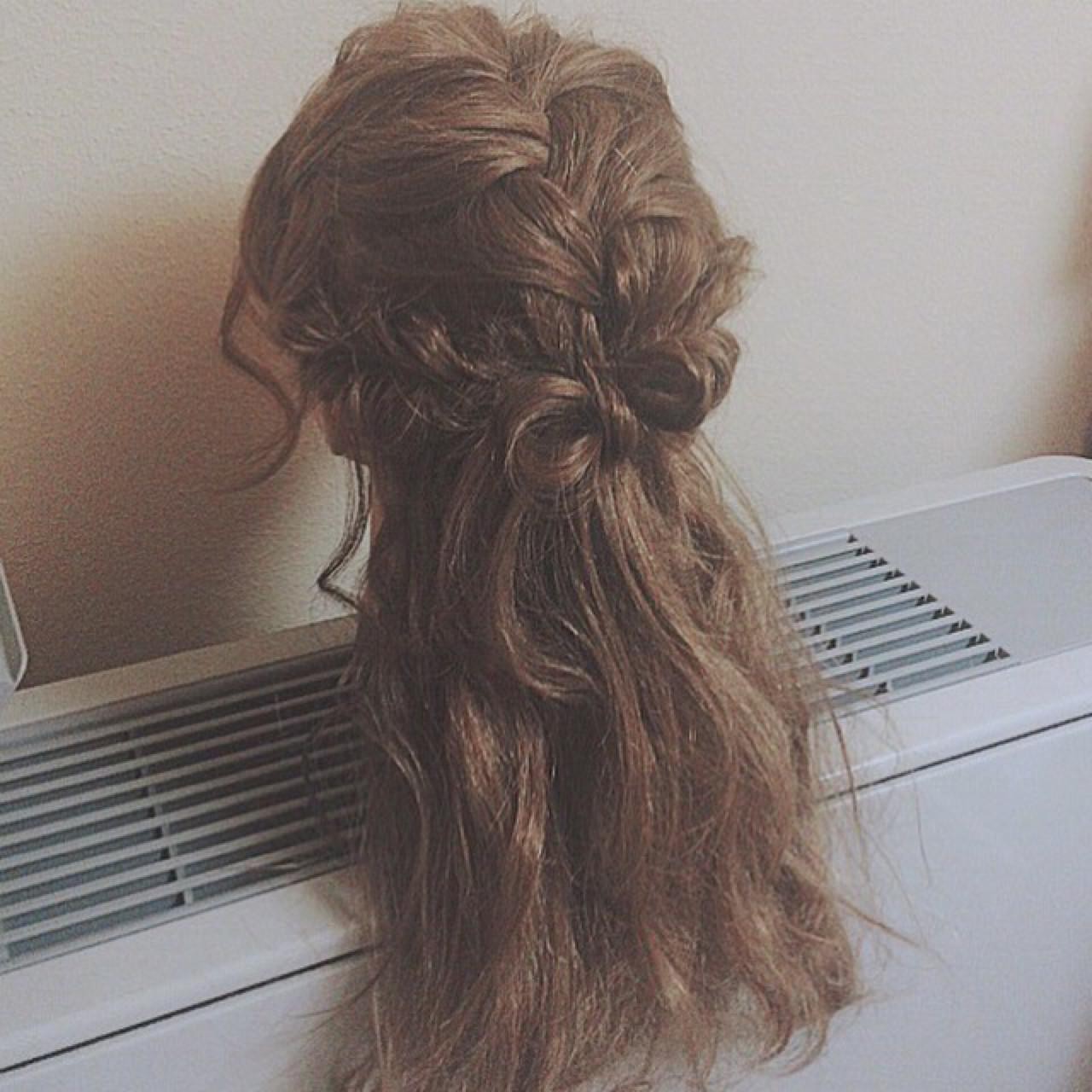 ハーフアップ ゆるふわ ロング ショート ヘアスタイルや髪型の写真・画像
