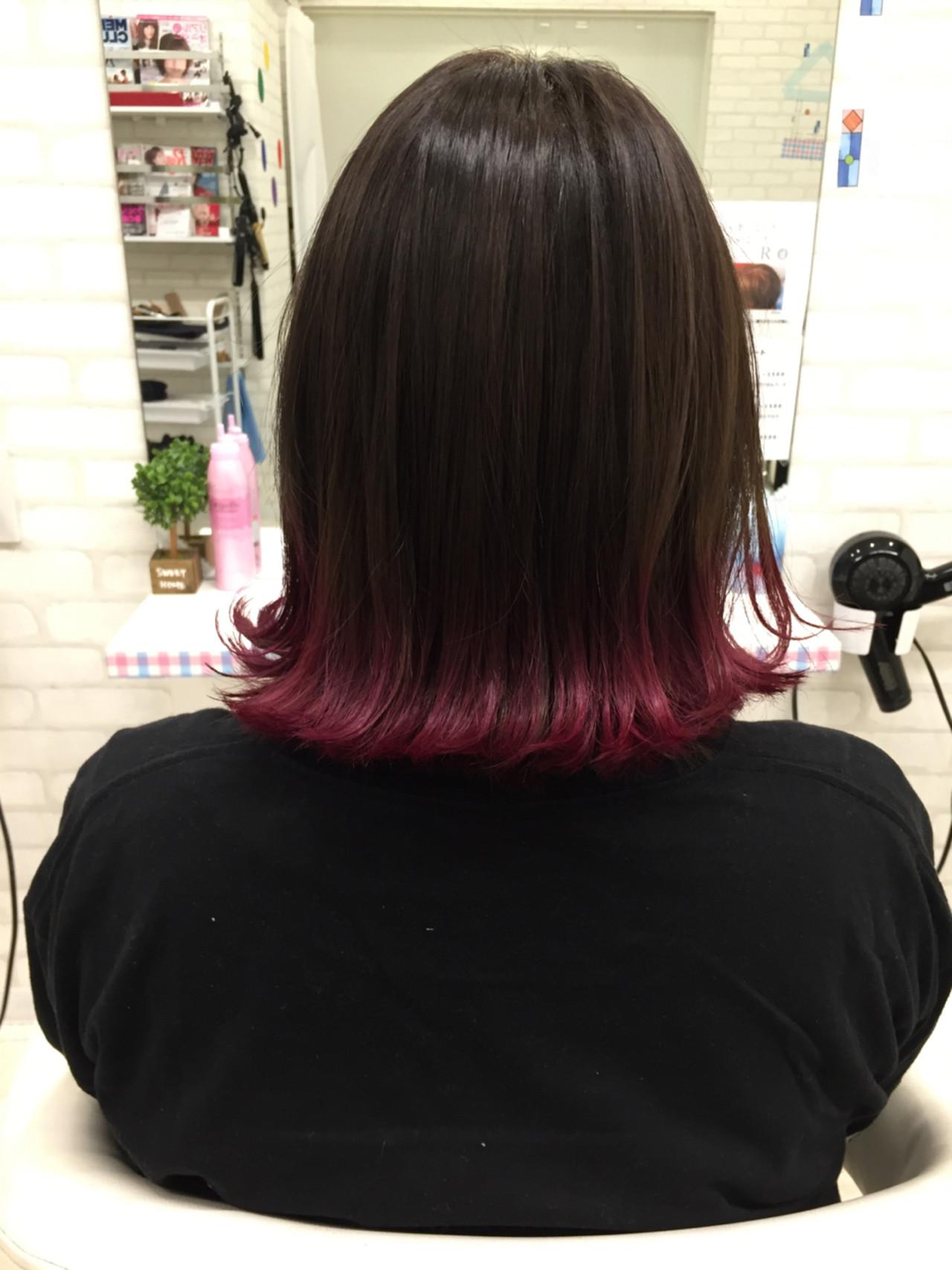 グラデーションカラー 外ハネ ピンク 切りっぱなし ヘアスタイルや髪型の写真・画像