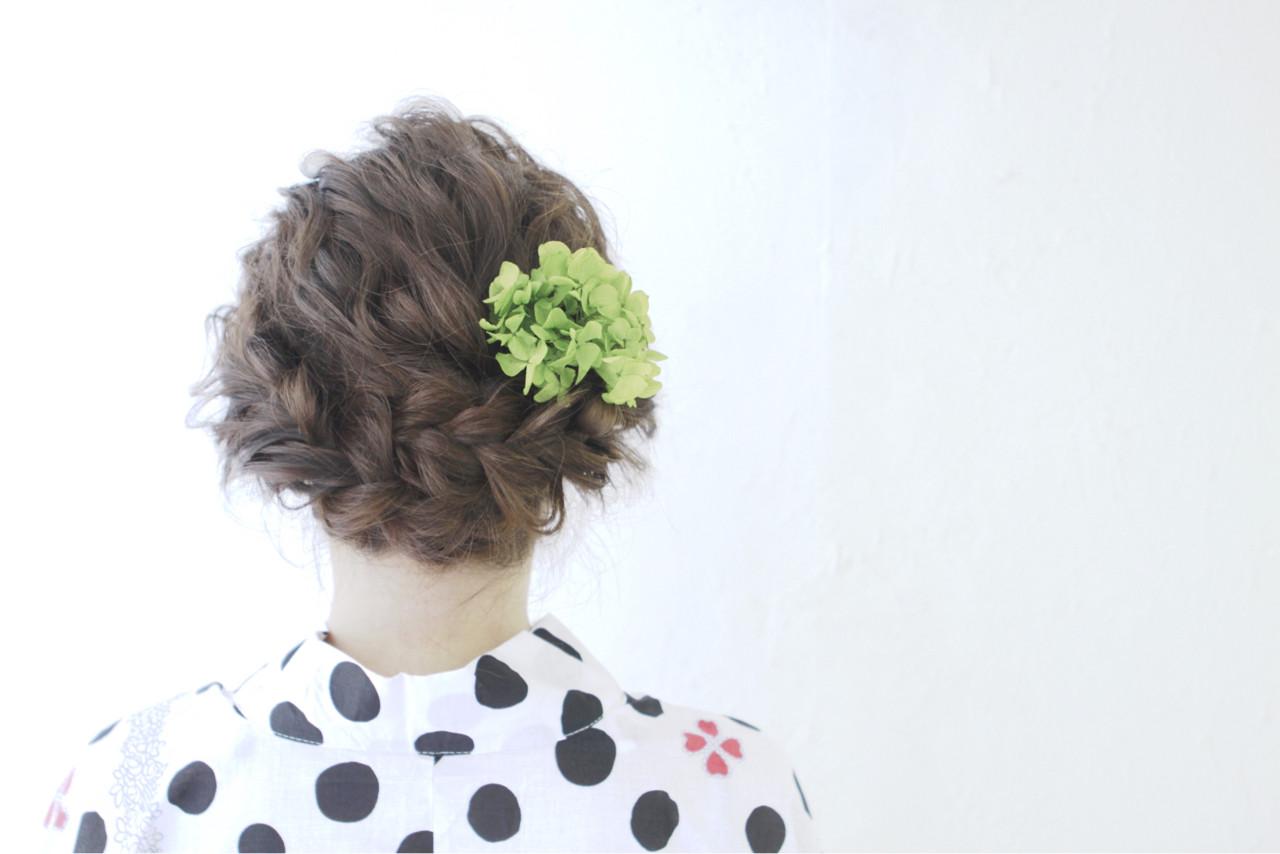 アップスタイル セミロング 夏 和装 ヘアスタイルや髪型の写真・画像