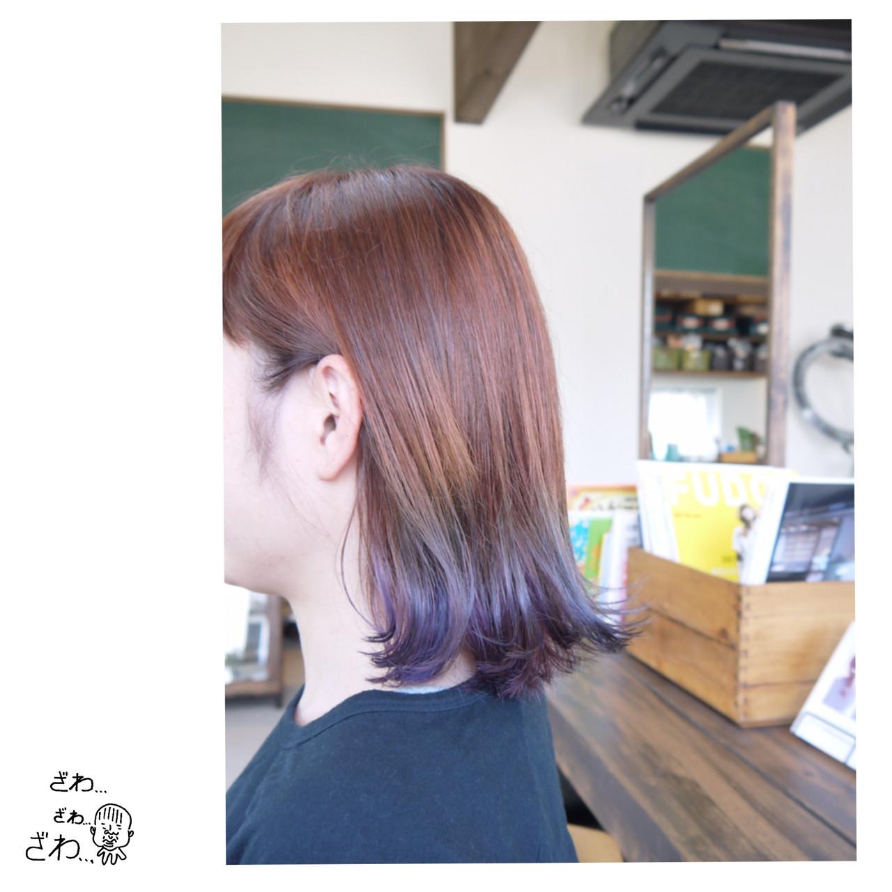 ボブ ナチュラル グラデーションカラー バレイヤージュ ヘアスタイルや髪型の写真・画像
