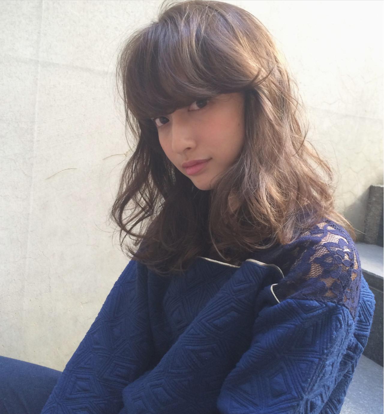 大人かわいい ミディアム ナチュラル セミロング ヘアスタイルや髪型の写真・画像