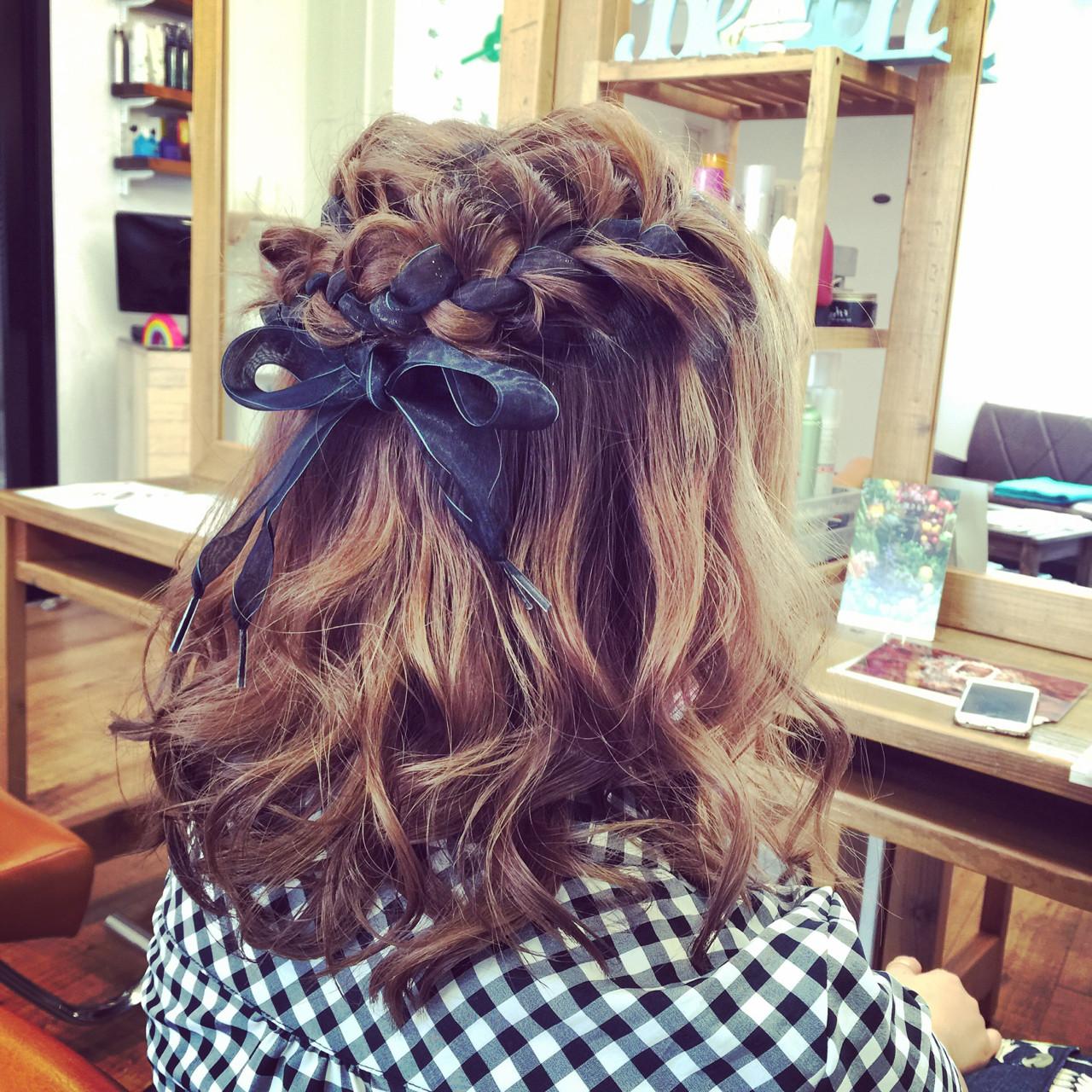 ミディアム 外国人風 編み込み ヘアアレンジ ヘアスタイルや髪型の写真・画像