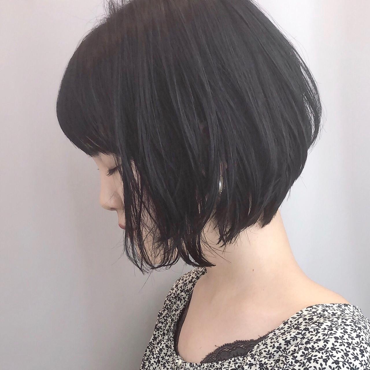 小顔ショート ナチュラル デート 黒髪 ヘアスタイルや髪型の写真・画像 | 川原梨央 / モリオフロムロンドン
