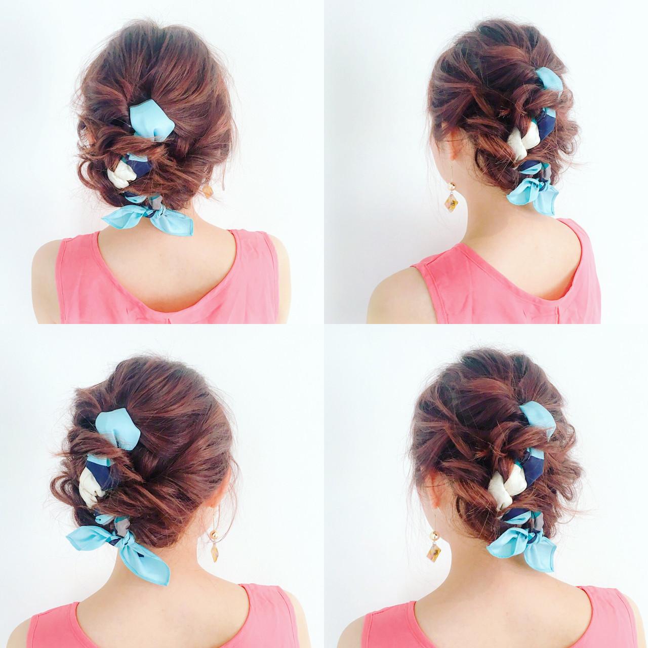 ヘアアクセ 編み込み ミディアム ヘアアレンジ ヘアスタイルや髪型の写真・画像 | 美容師HIRO/Amoute代表 / Amoute/アムティ