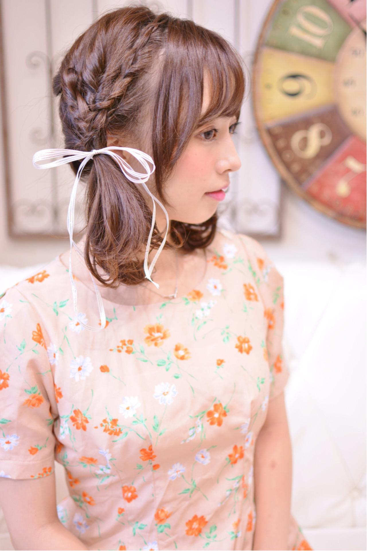 ツインテール ミディアム ヘアアレンジ ガーリー ヘアスタイルや髪型の写真・画像