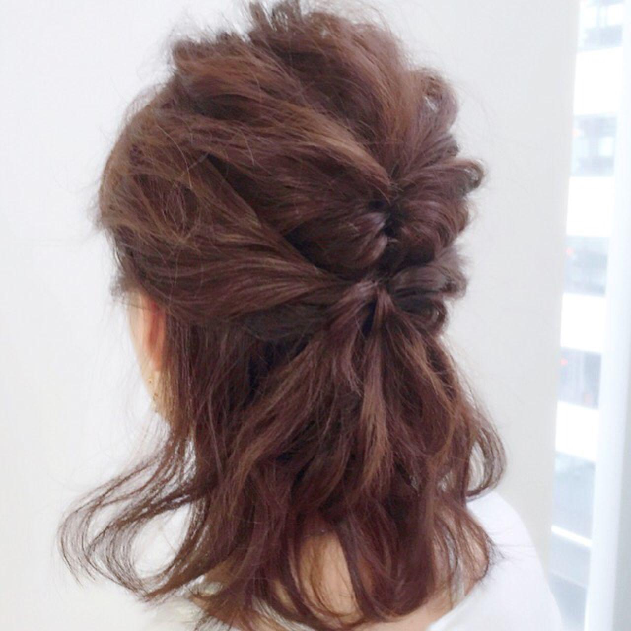 ハーフアップ モテ髪 ナチュラル ヘアアレンジ ヘアスタイルや髪型の写真・画像