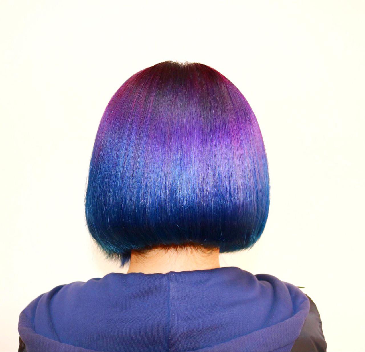ダブルカラー ハイトーン モード グラデーションカラー ヘアスタイルや髪型の写真・画像