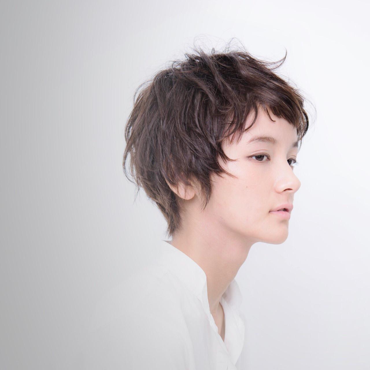 ショートバング ナチュラル ショート パーマ ヘアスタイルや髪型の写真・画像