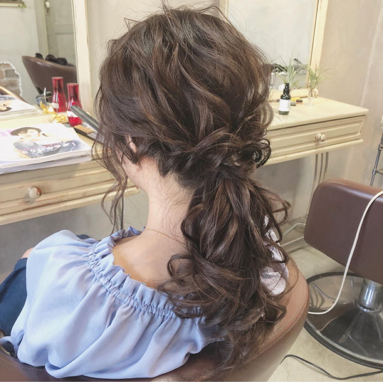 ローポニーテール ロング 簡単ヘアアレンジ 女子会 ヘアスタイルや髪型の写真・画像