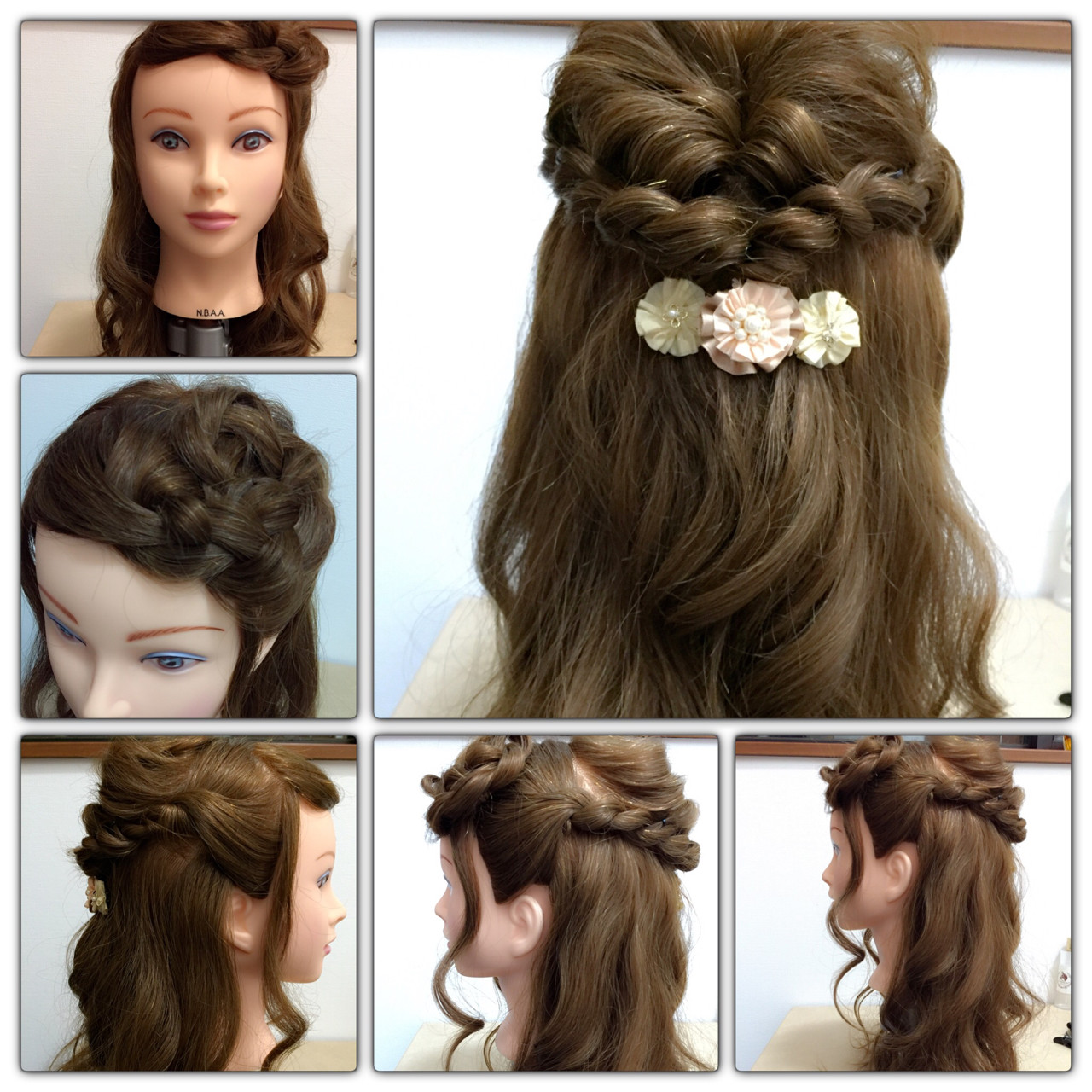 簡単ヘアアレンジ ショート 大人かわいい 編み込み ヘアスタイルや髪型の写真・画像