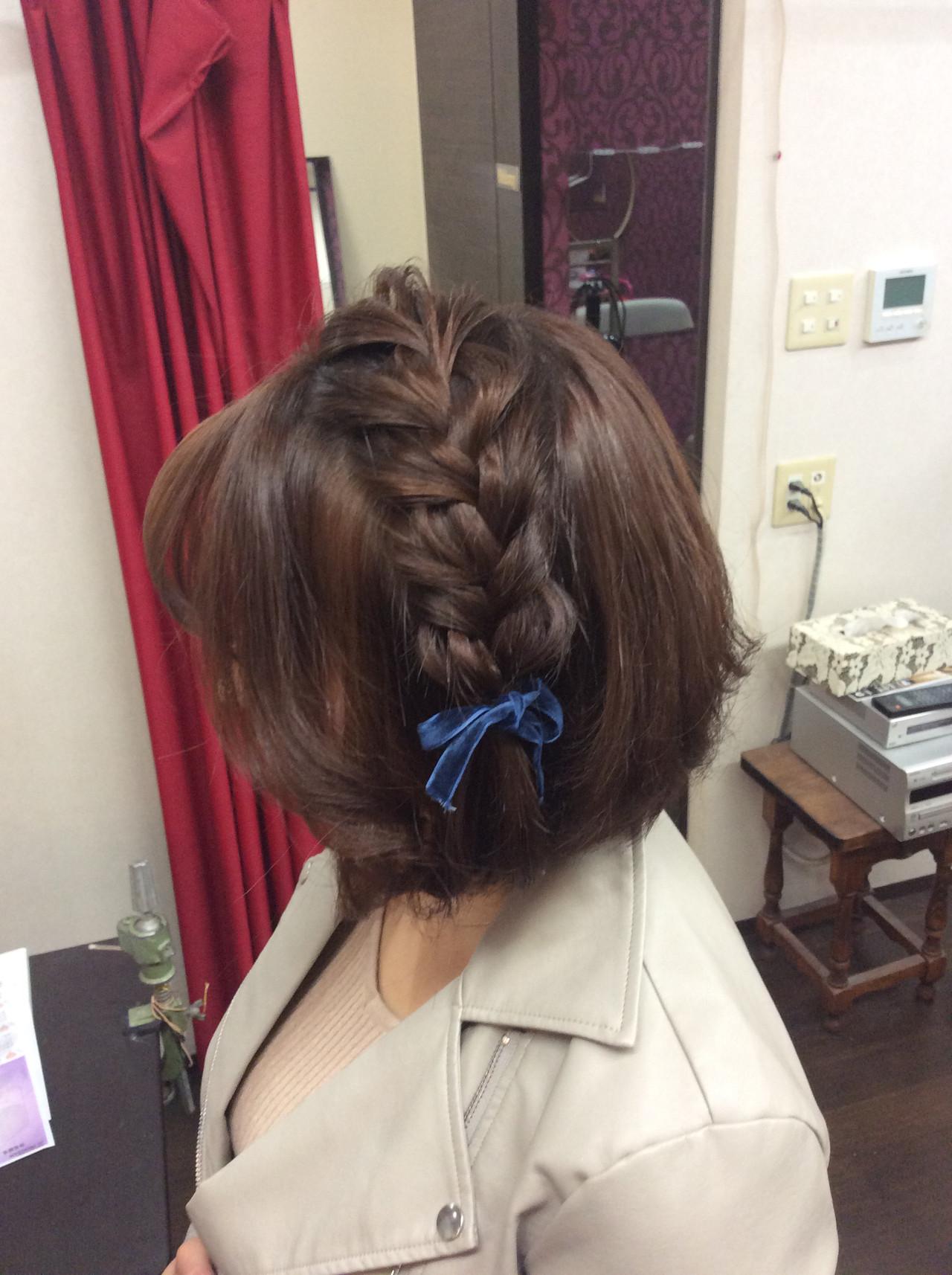 ナチュラル ヘアアレンジ 結婚式ヘアアレンジ 編み込みヘア ヘアスタイルや髪型の写真・画像   rumiLINKS美容室 / リンクス美容室