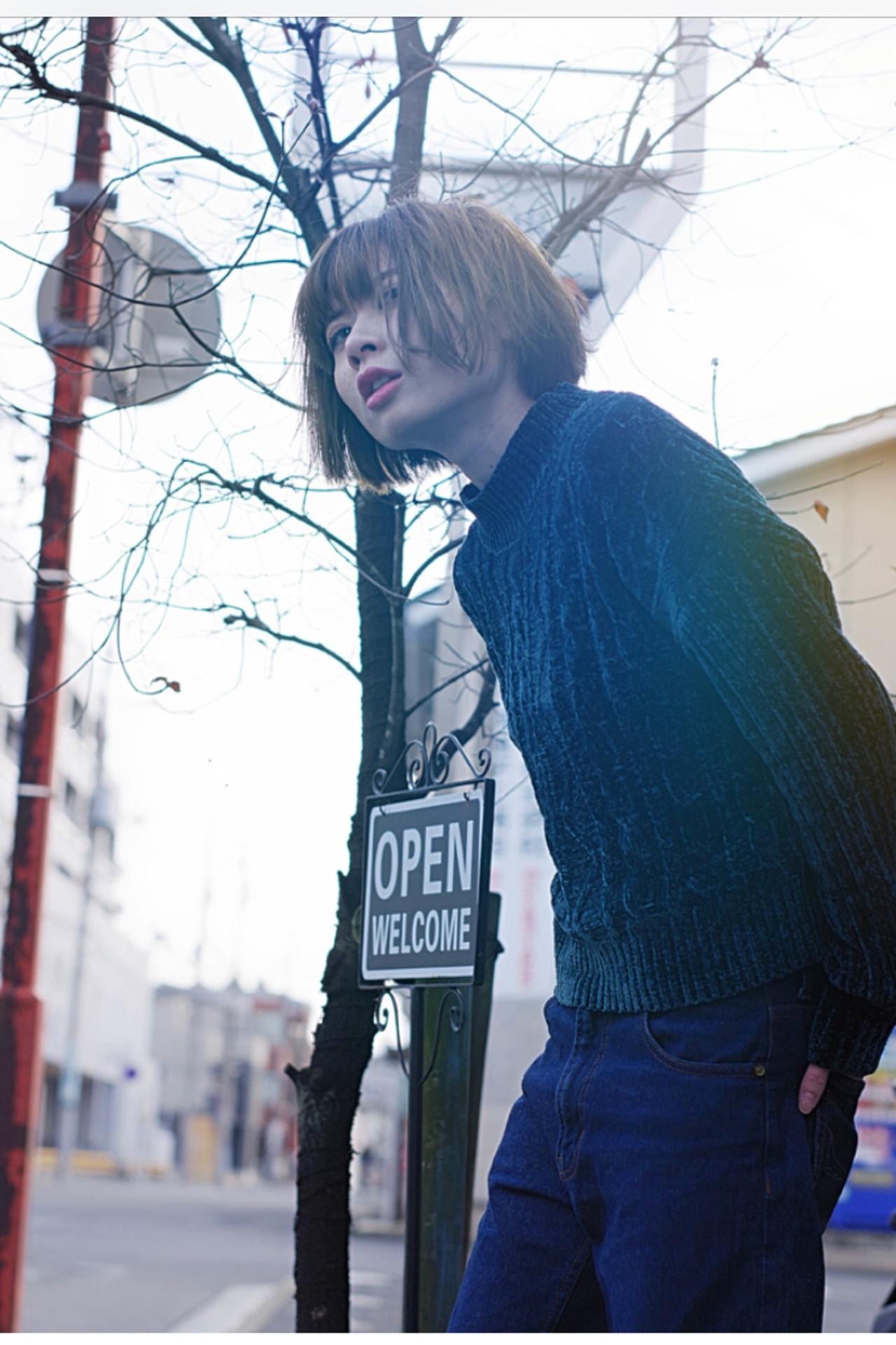 ストリート かっこいい クール ボブ ヘアスタイルや髪型の写真・画像