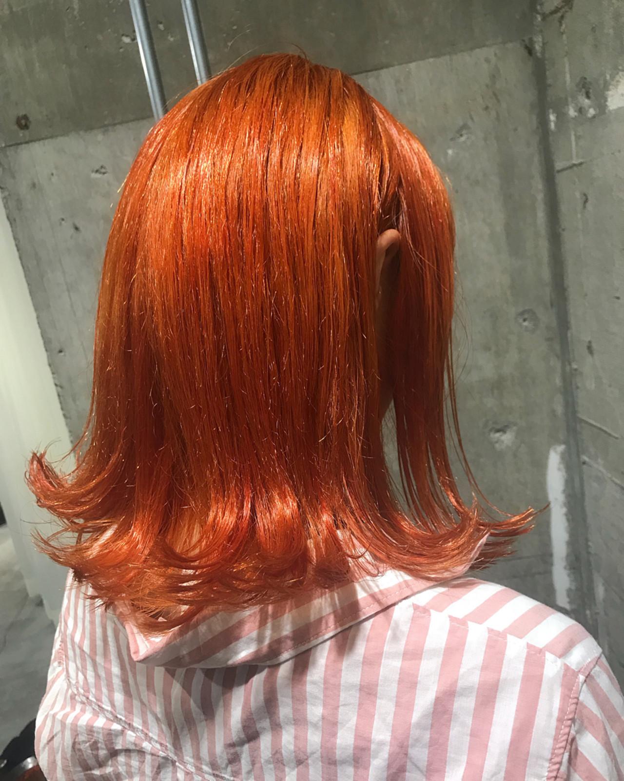 ストリート ミディアム オレンジ 個性的 ヘアスタイルや髪型の写真・画像