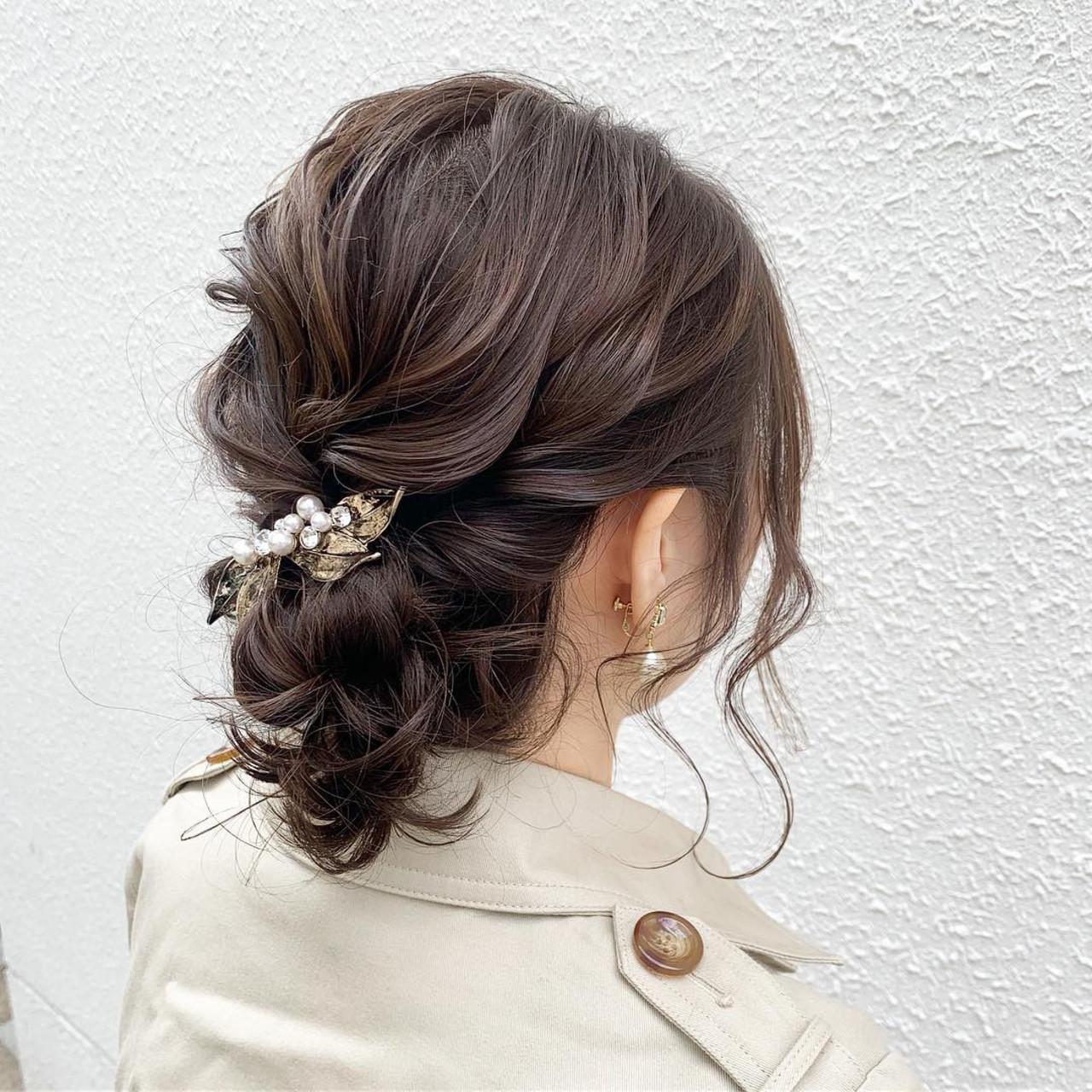 ルーズ 結婚式 フェミニン アンニュイほつれヘア ヘアスタイルや髪型の写真・画像