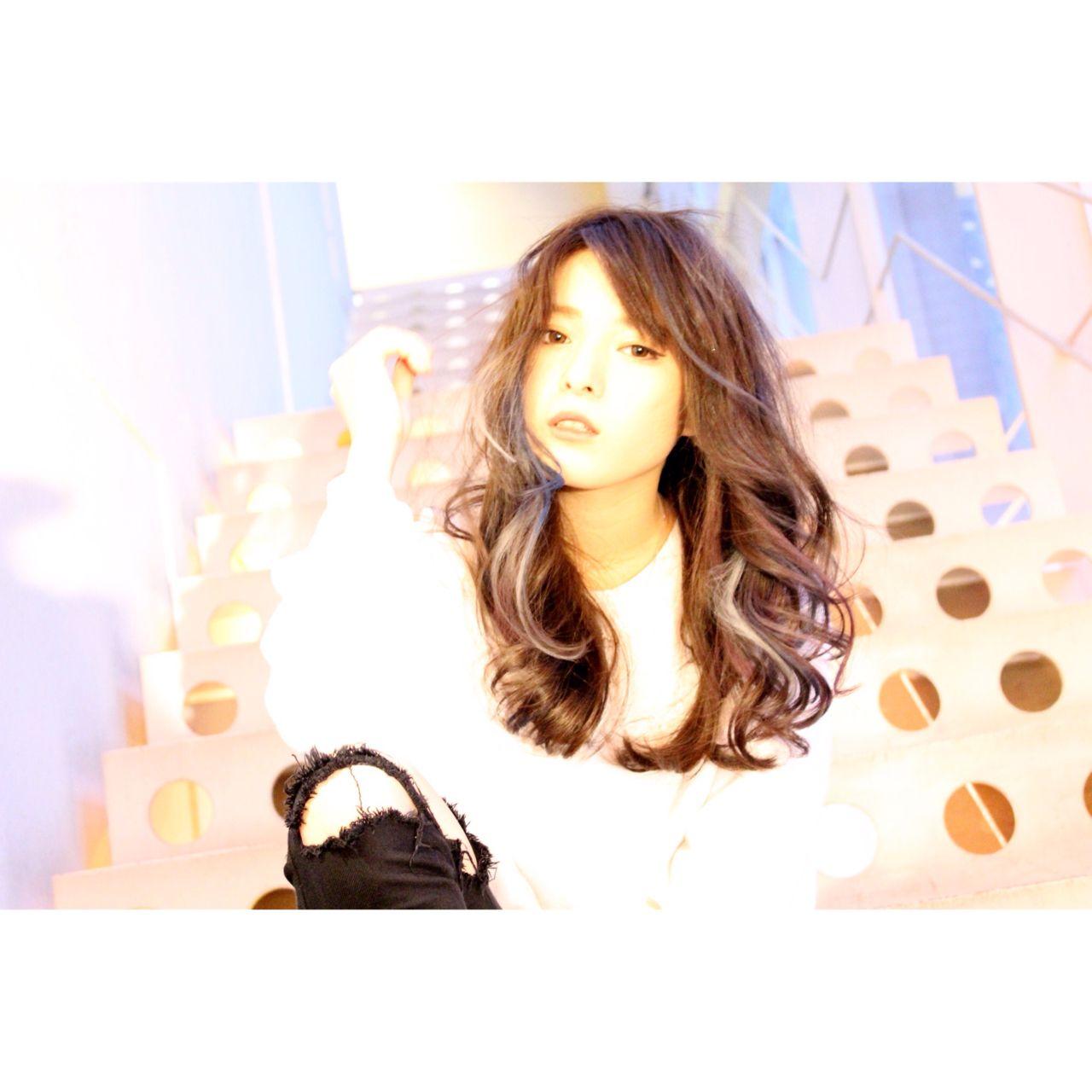 暗髪 ストレート ストリート セミロング ヘアスタイルや髪型の写真・画像 | merry TATSUYA / merry渋谷店