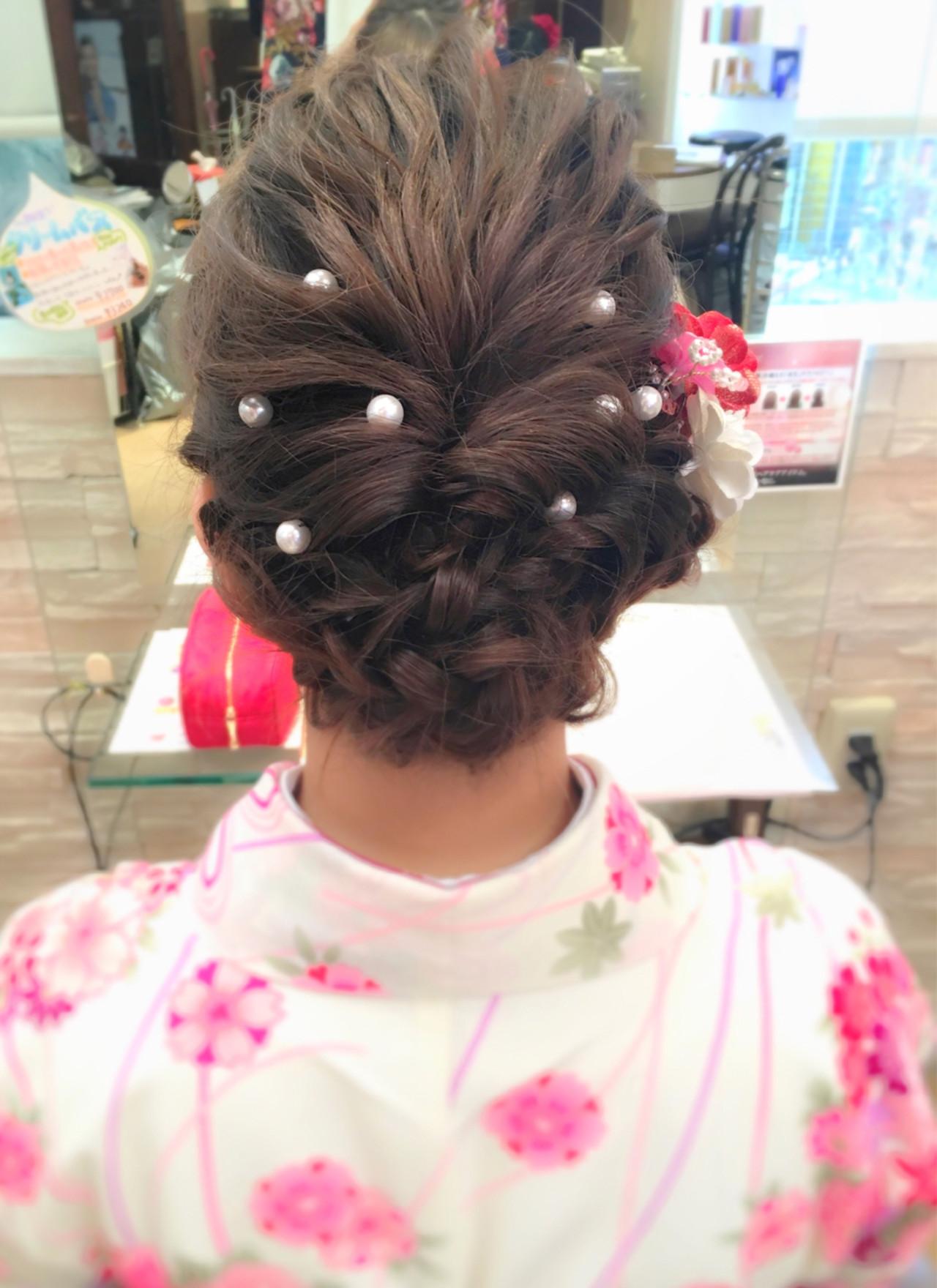 着物 袴 ナチュラル 波ウェーブ ヘアスタイルや髪型の写真・画像