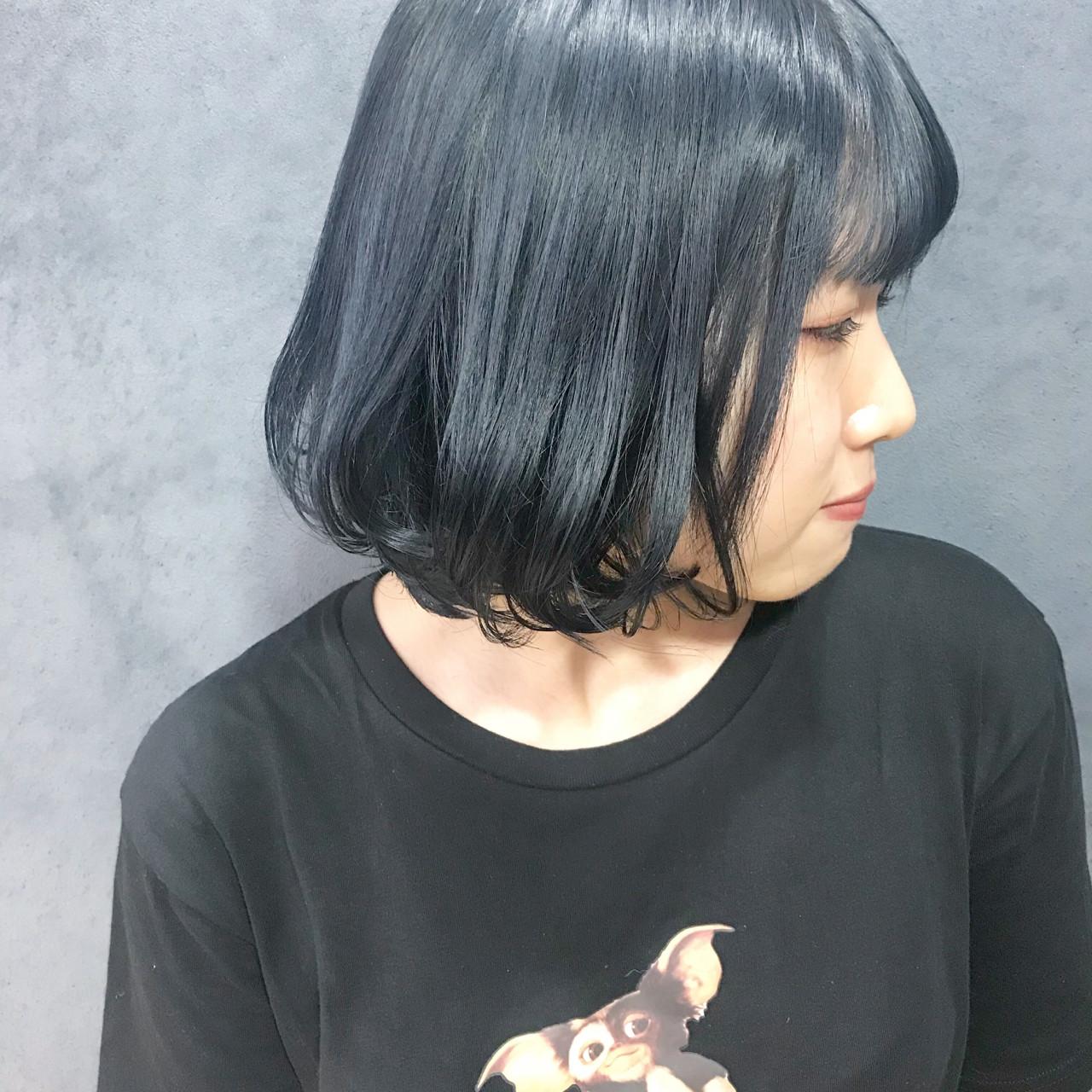 ダークカラー ネイビーカラー ネイビーブルー 暗髪|原宿,ainico