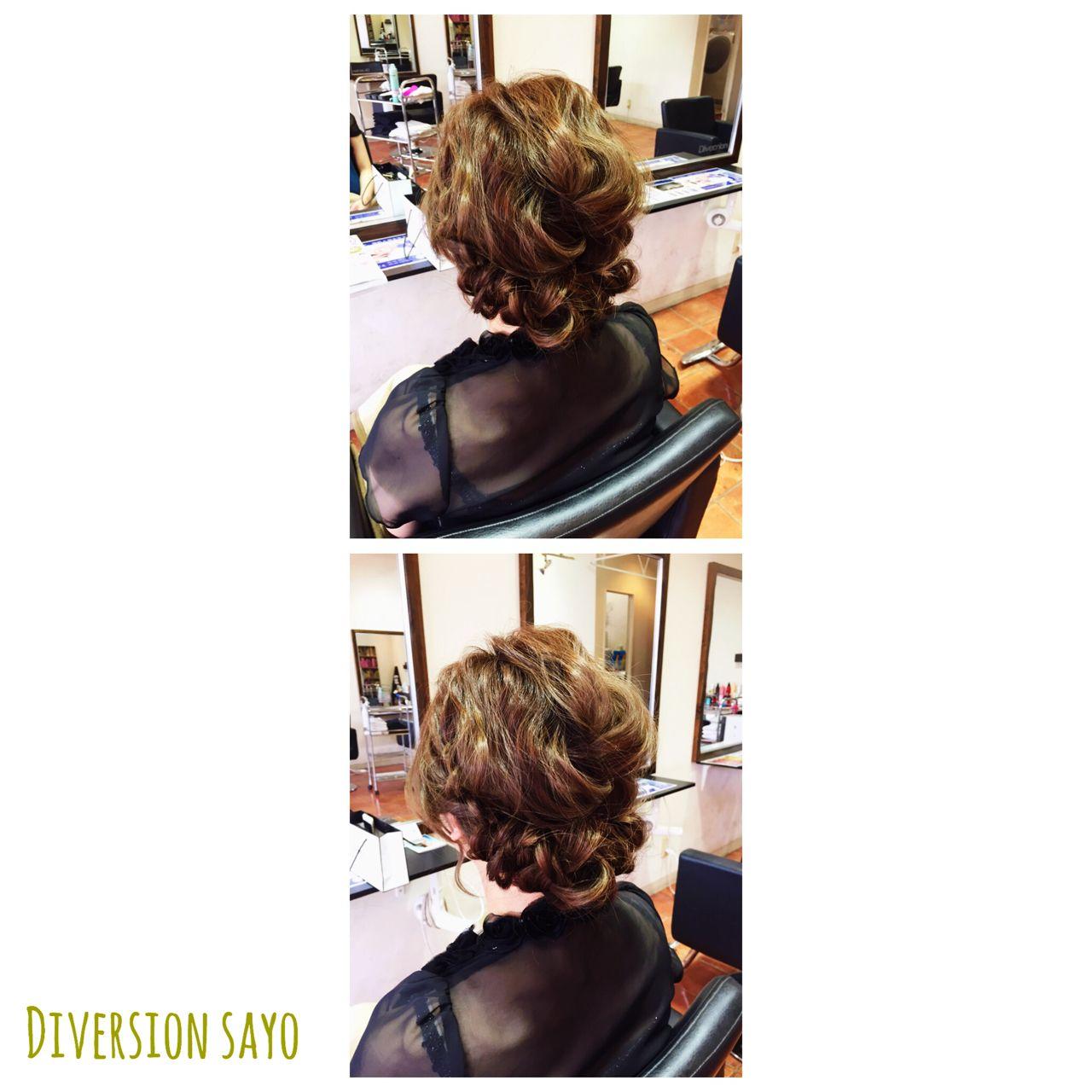 波ウェーブ 編み込み ギブソンタック ヘアアレンジ ヘアスタイルや髪型の写真・画像