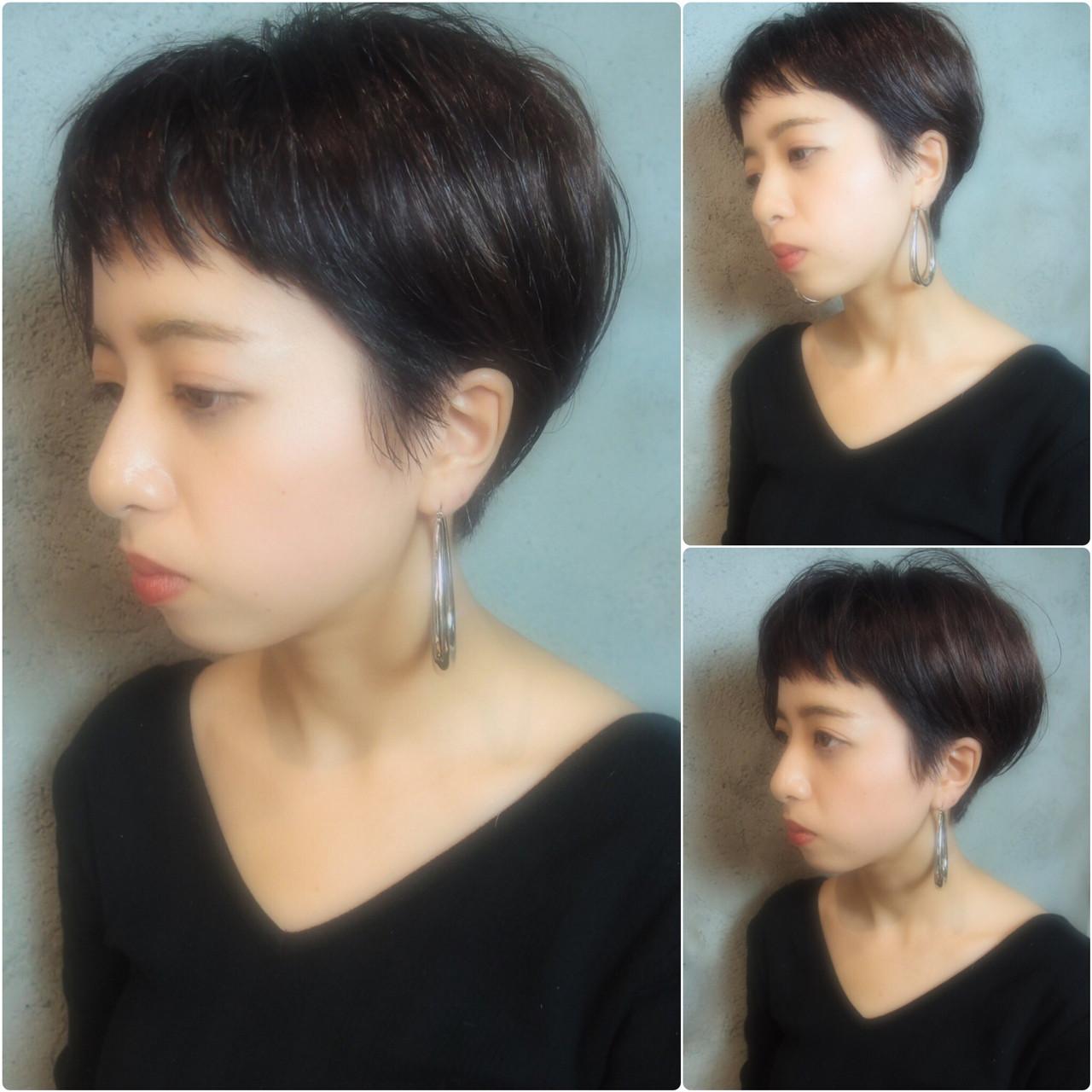 黒髪 ナチュラル ショート マッシュ ヘアスタイルや髪型の写真・画像