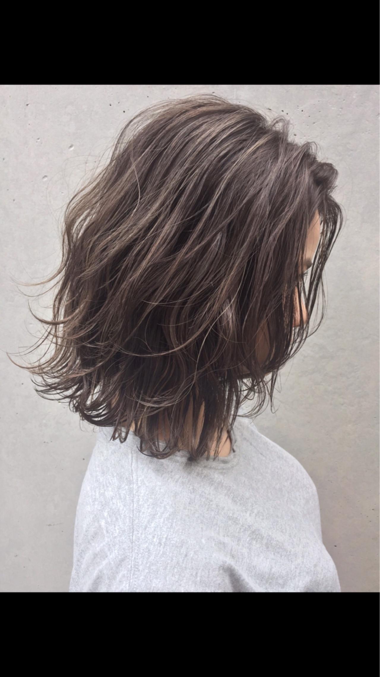 ハイライト 透明感 ロブ ボブ ヘアスタイルや髪型の写真・画像