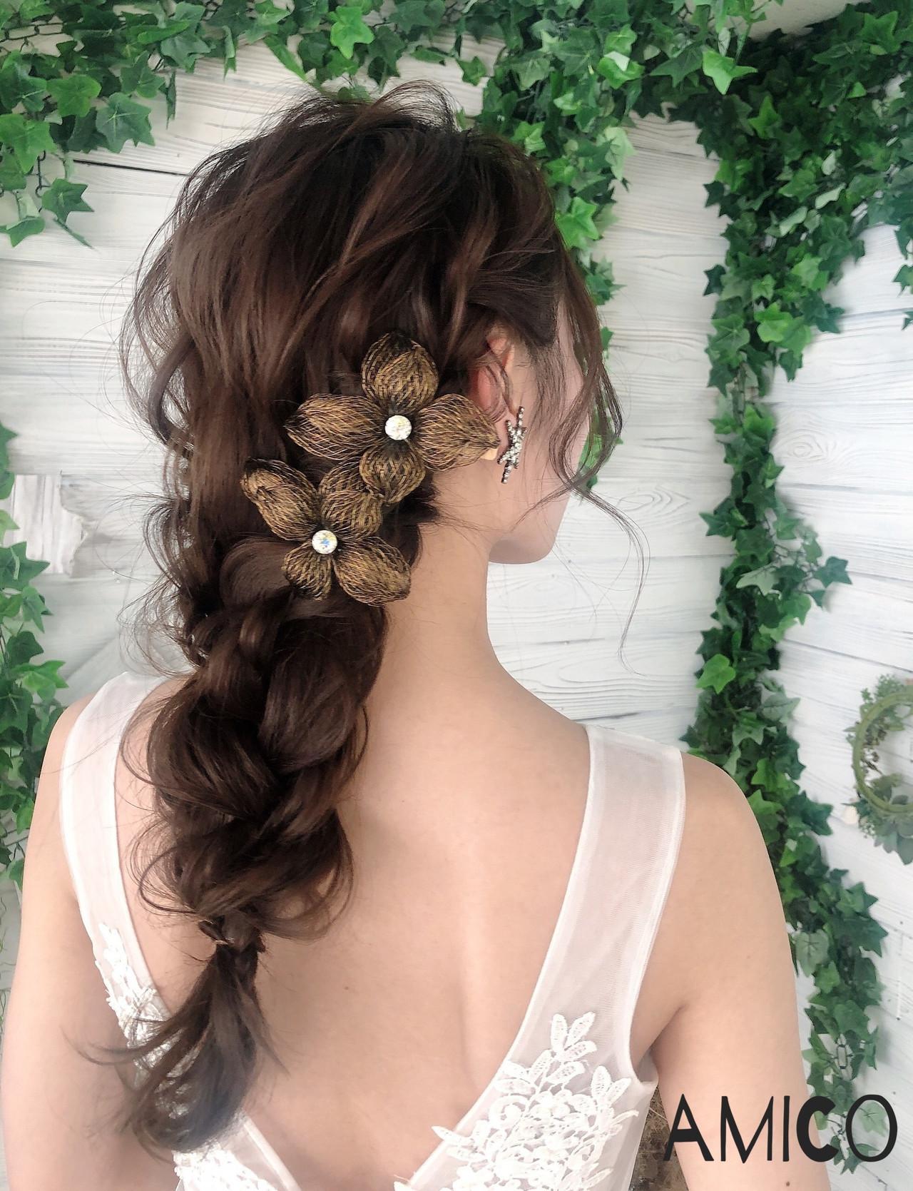 デート 簡単ヘアアレンジ 花嫁 結婚式 ヘアスタイルや髪型の写真・画像 | amico/佐藤 友理 / AMICO