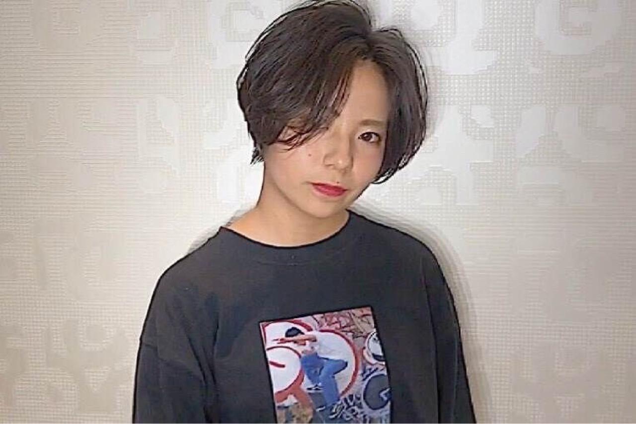 流し前髪 ヘアアレンジ ショート 前髪あり ヘアスタイルや髪型の写真・画像