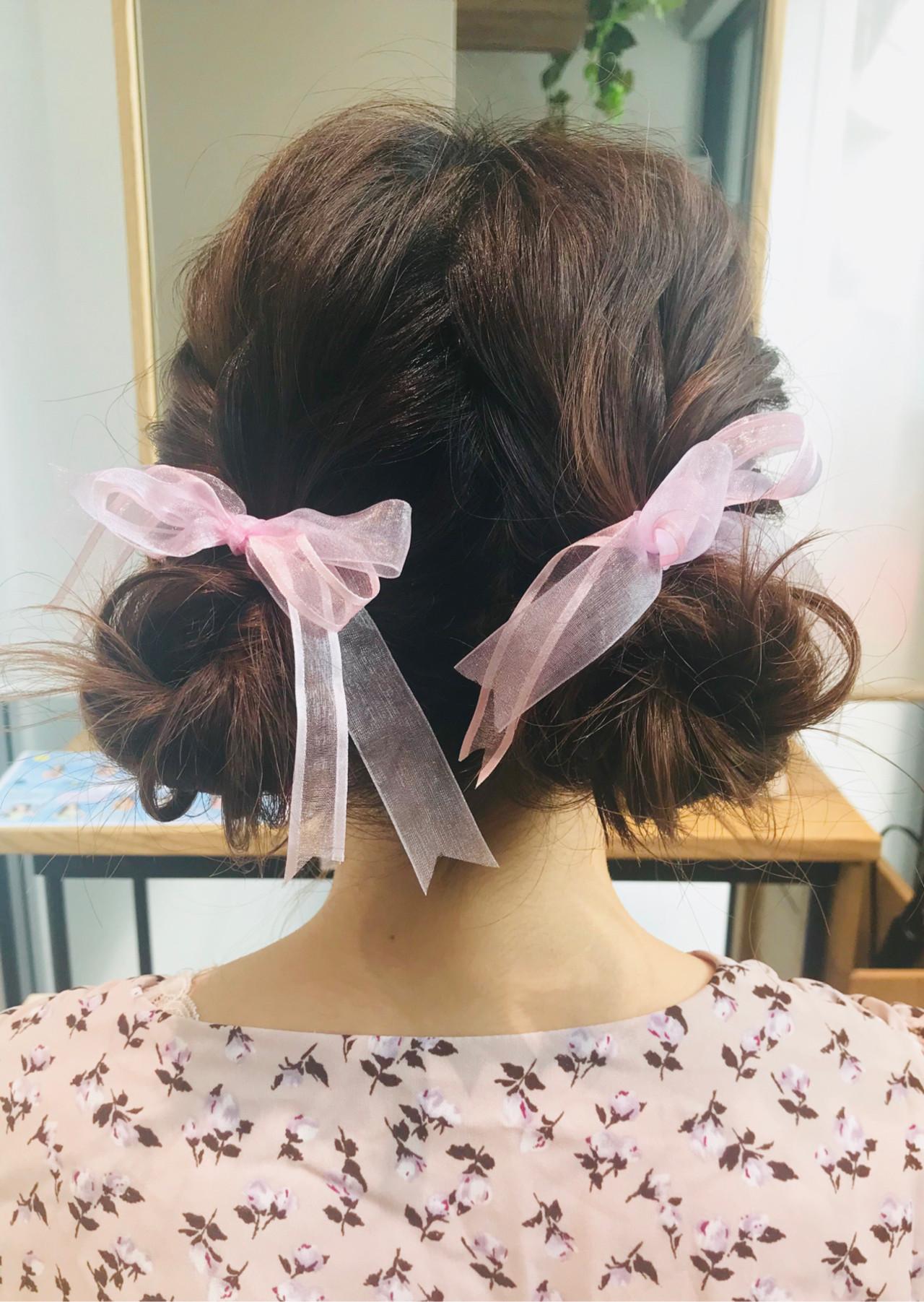 ヘアアレンジ ミディアム ガーリー コンサート ヘアスタイルや髪型の写真・画像