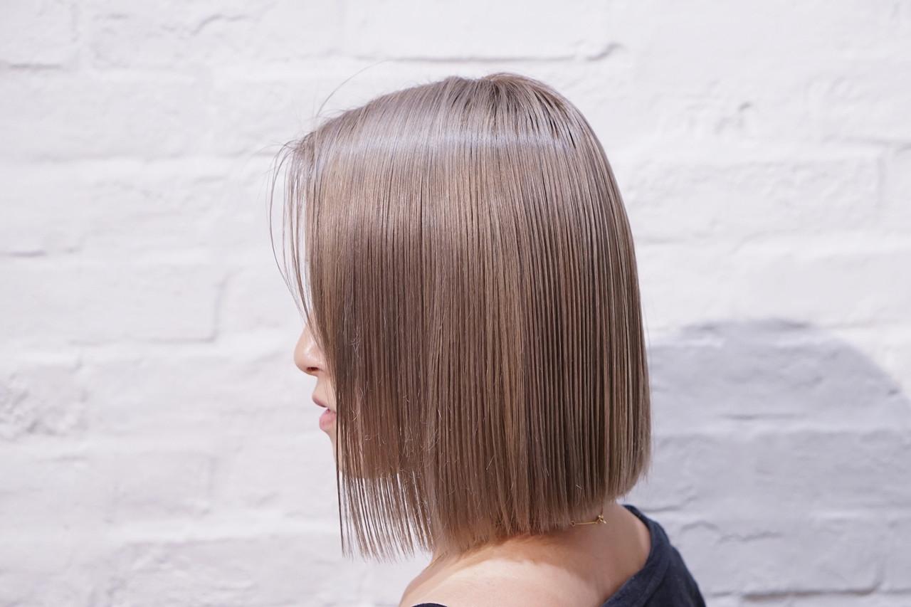 ミルクティーベージュ ミルクティーブラウン ブリーチ必須 ボブ ヘアスタイルや髪型の写真・画像