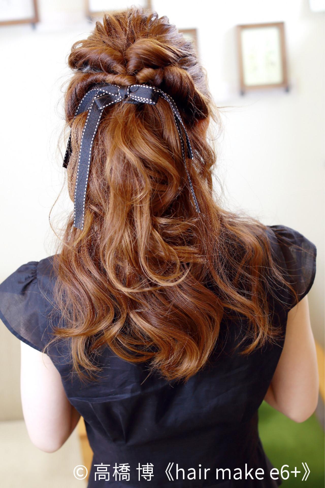 ハーフアップ ショート ヘアアレンジ くるりんぱ ヘアスタイルや髪型の写真・画像