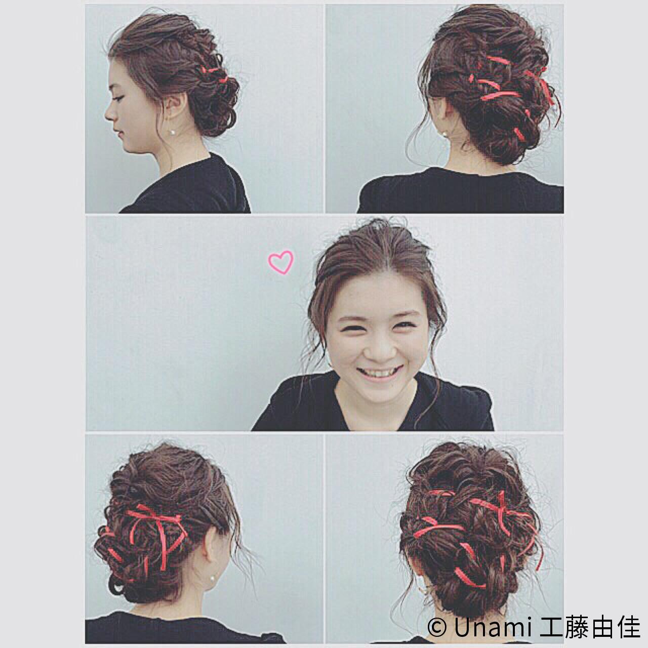 二次会 セミロング フェミニン ヘアアレンジ ヘアスタイルや髪型の写真・画像