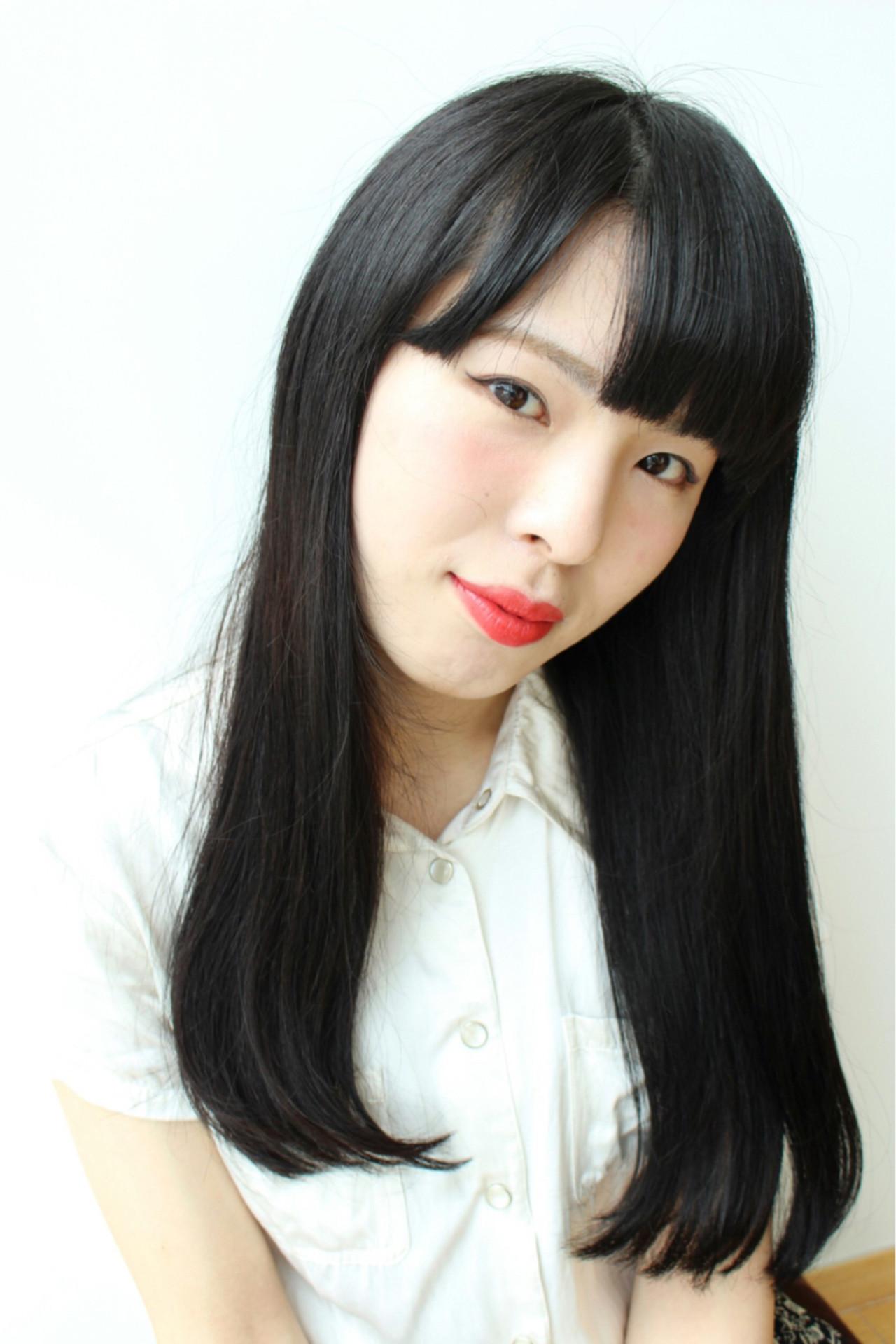 ストレート ロング ワンカール 艶髪 ヘアスタイルや髪型の写真・画像