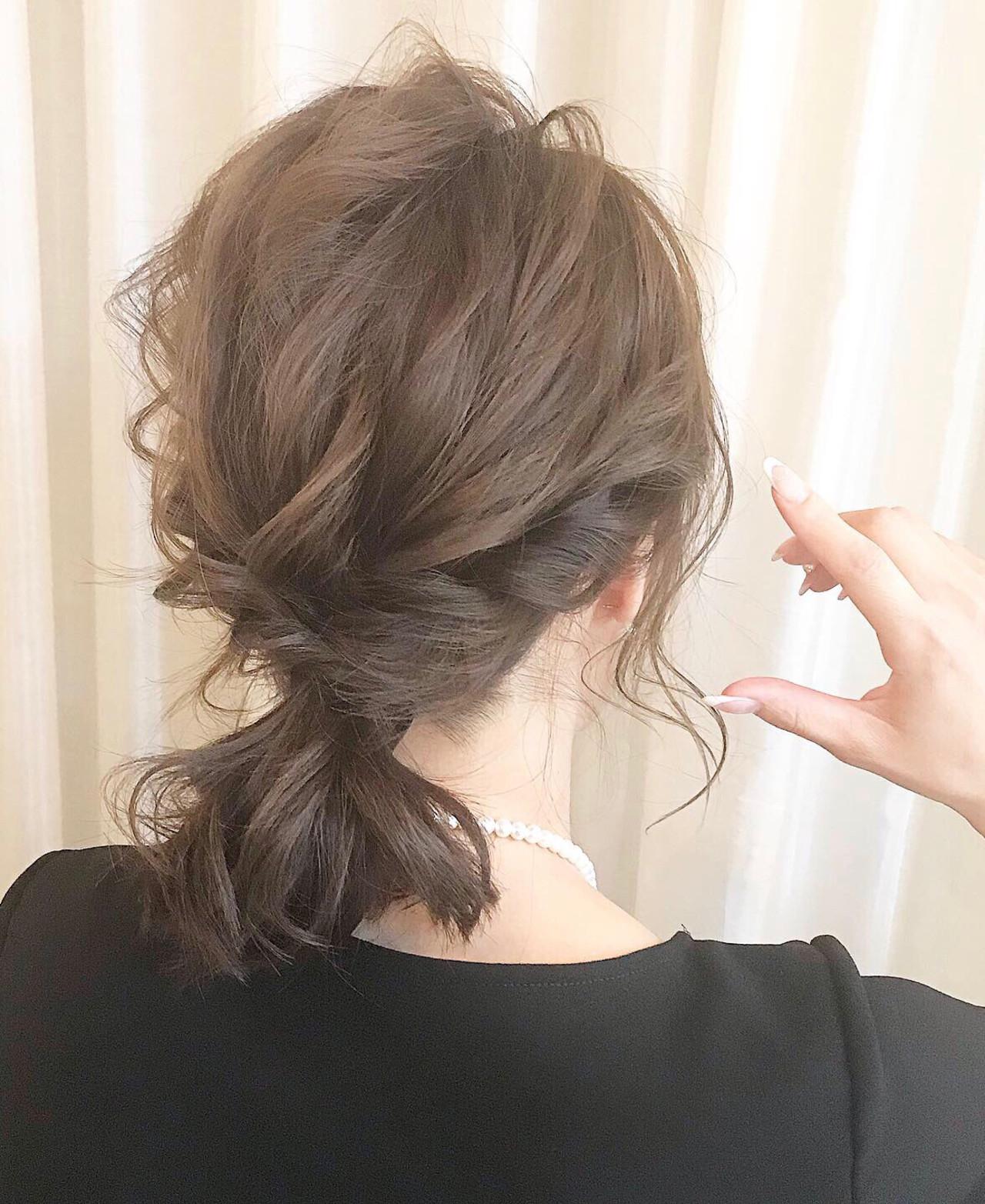 ミディアム ヘアアレンジ ナチュラル 結婚式ヘアアレンジ ヘアスタイルや髪型の写真・画像