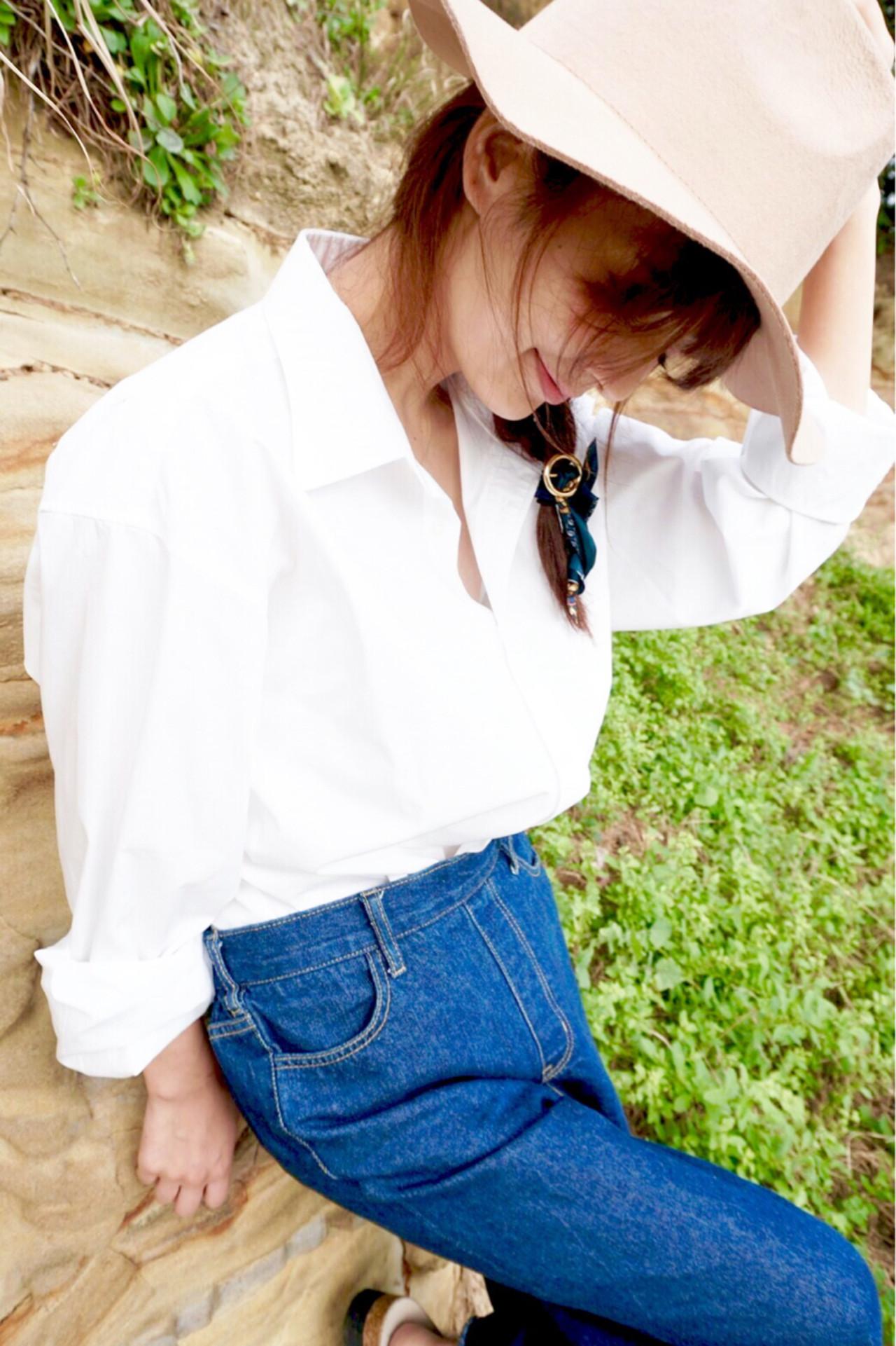 セミロング ヘアアレンジ フェミニン ハーフアップ ヘアスタイルや髪型の写真・画像 | 清水桃子 / ミルクブッシュ / ミルクブッシュ