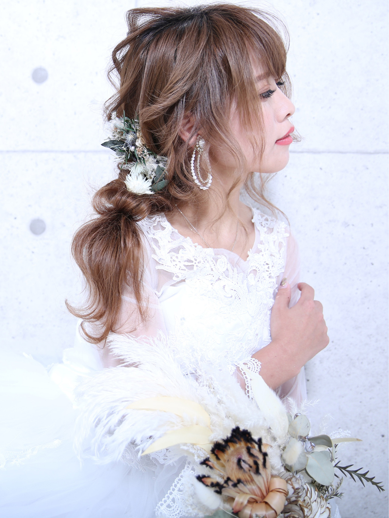 簡単ヘアアレンジ フェミニン 結婚式 デート ヘアスタイルや髪型の写真・画像