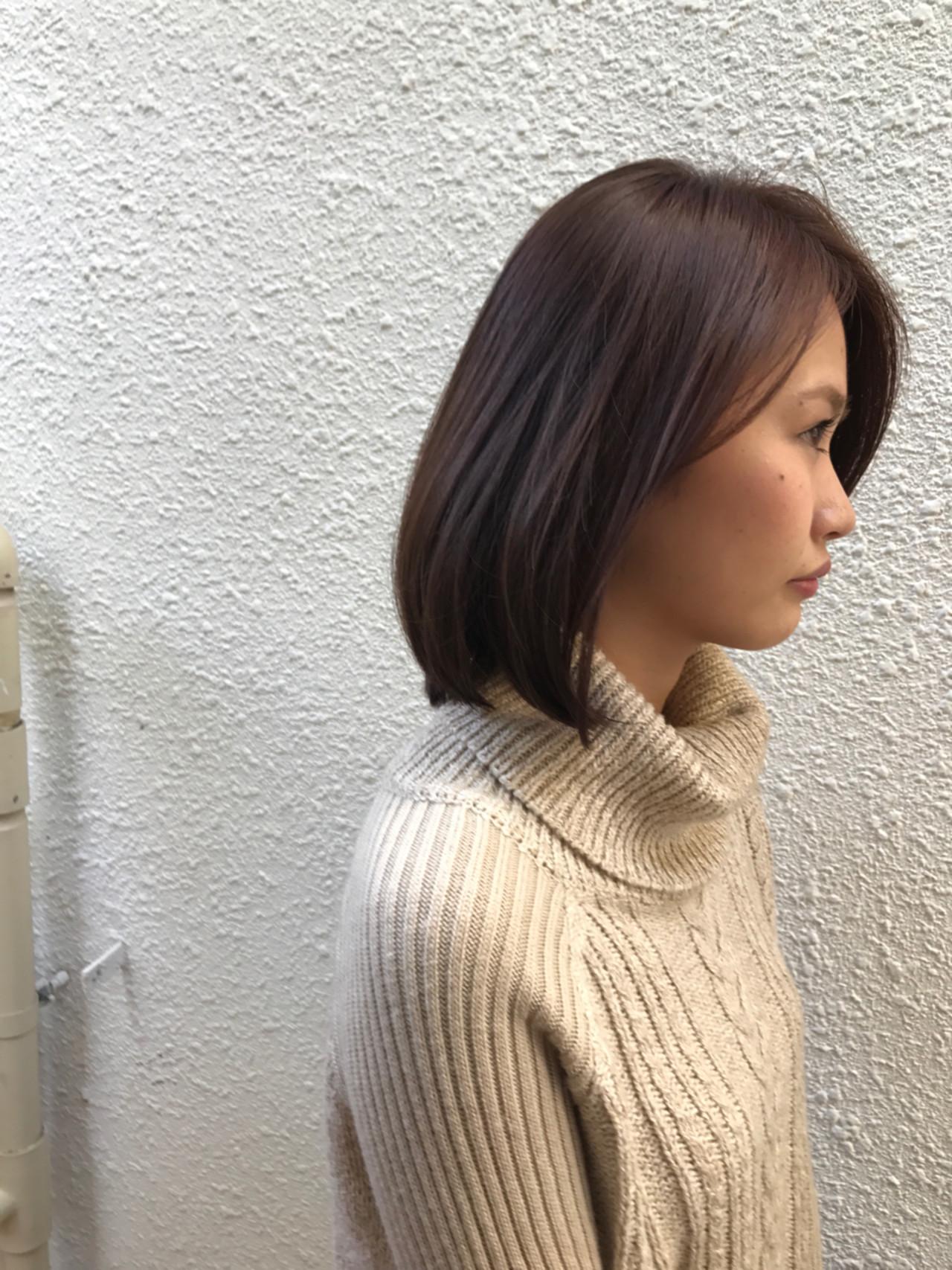 小顔 冬 色気 ナチュラル ヘアスタイルや髪型の写真・画像