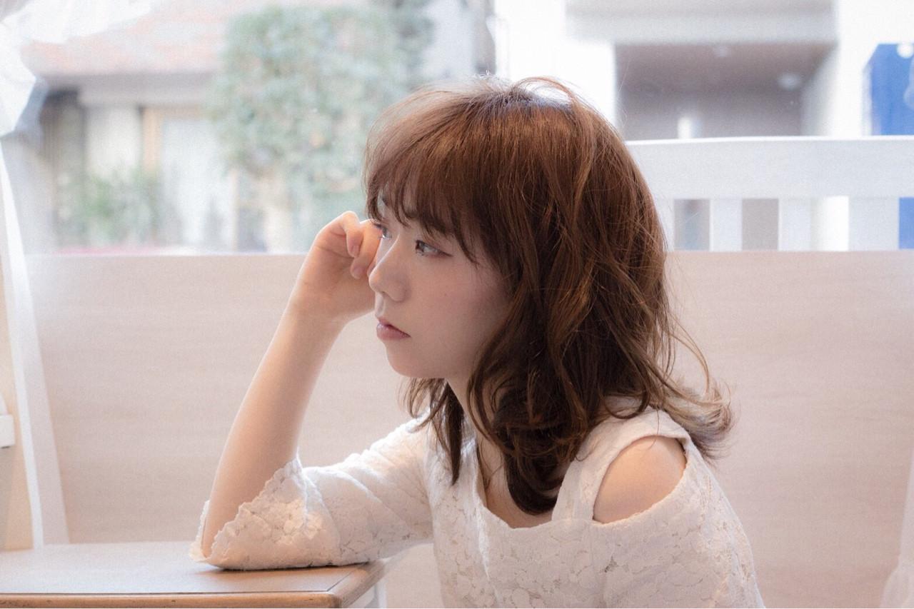 ゆるふわ 伸ばしかけ パーマ ミディアム ヘアスタイルや髪型の写真・画像   risa /