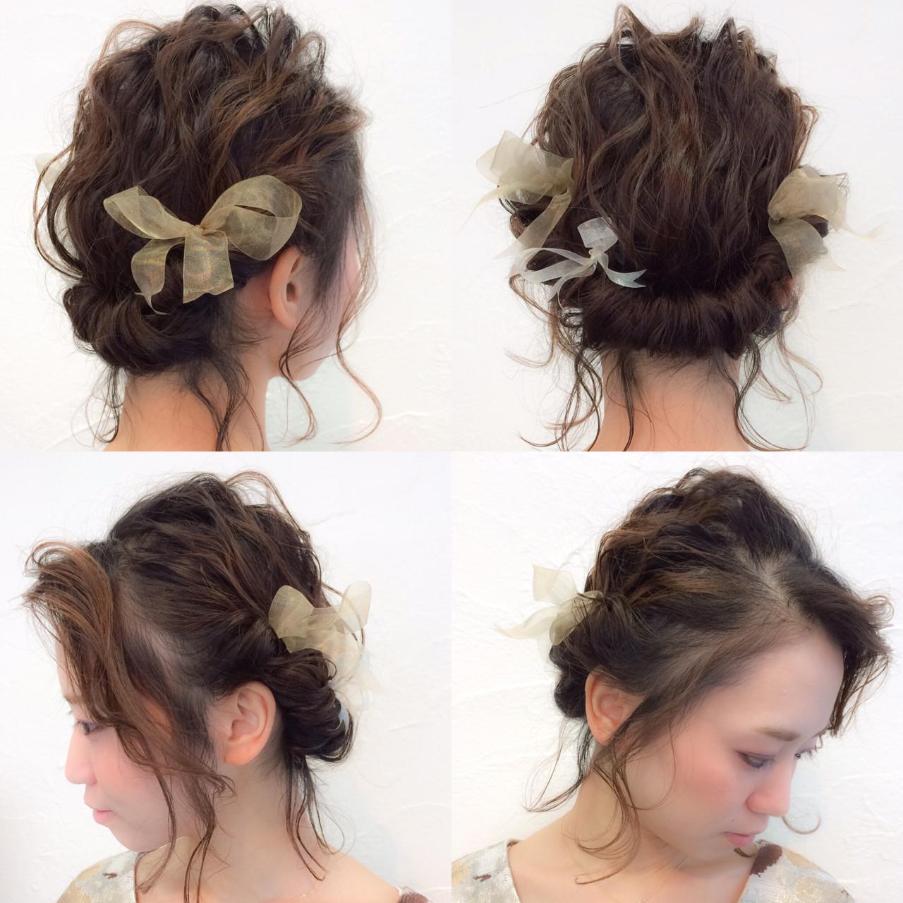 ゆるふわ ヘアアレンジ ボブ 結婚式 ヘアスタイルや髪型の写真・画像