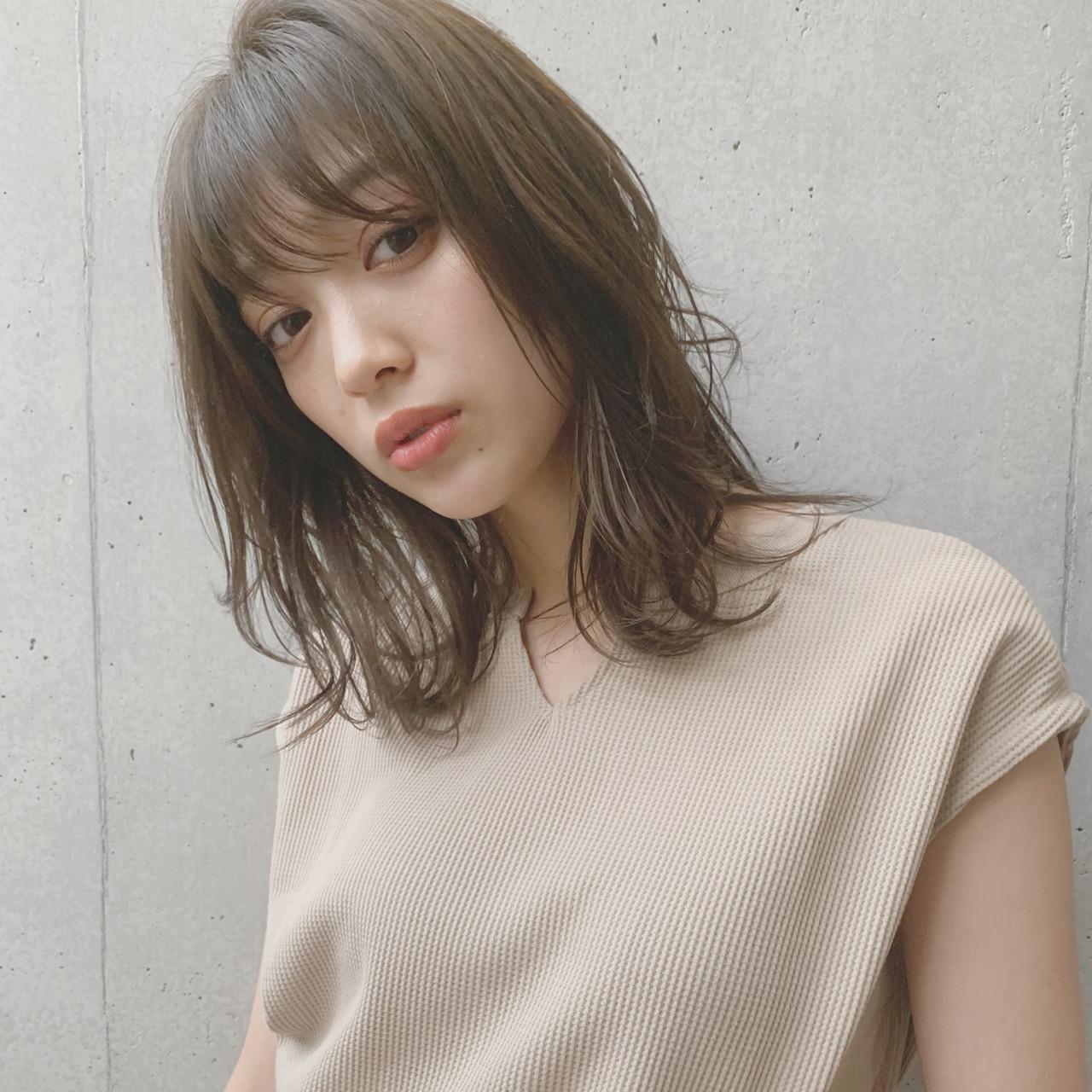 デジタルパーマ ミディアム 透明感カラー 鎖骨ミディアム ヘアスタイルや髪型の写真・画像 | miu 【Agnos青山】 / Agnos 青山