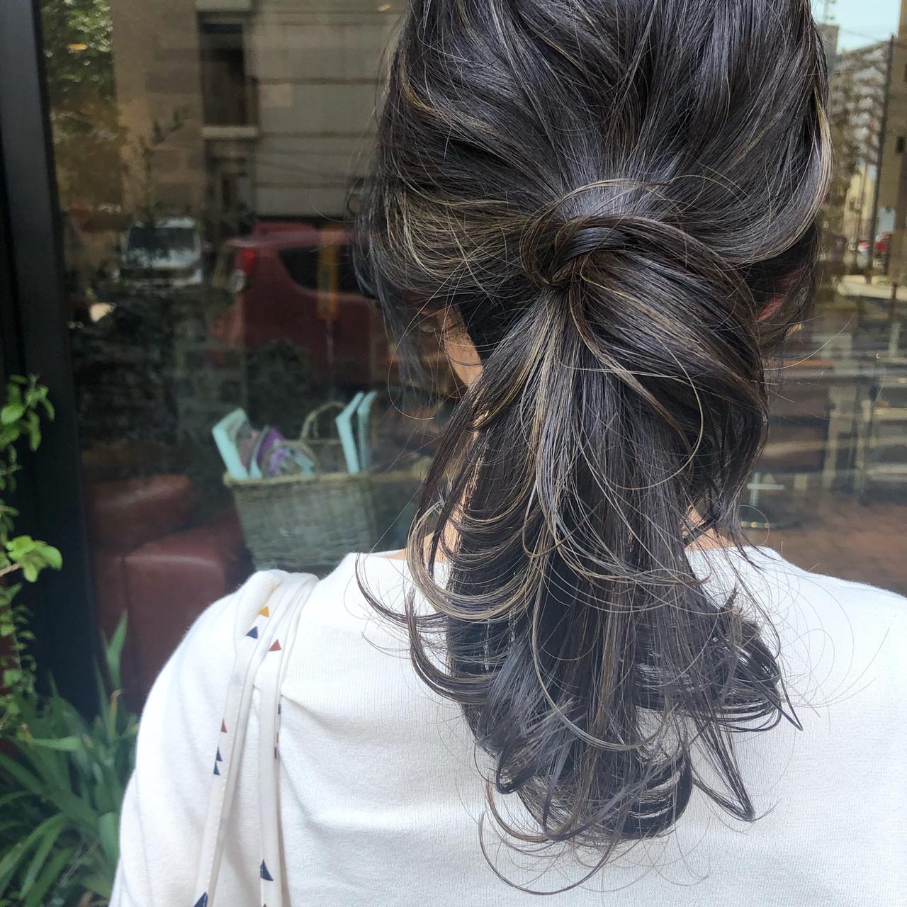 黒髪 デート ヘアアレンジ セミロング ヘアスタイルや髪型の写真・画像 | 福田 莉野 / Oggi