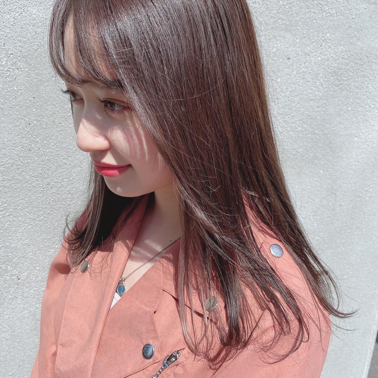 ストレート サロンモデル 外国人風カラー 韓国ヘア ヘアスタイルや髪型の写真・画像