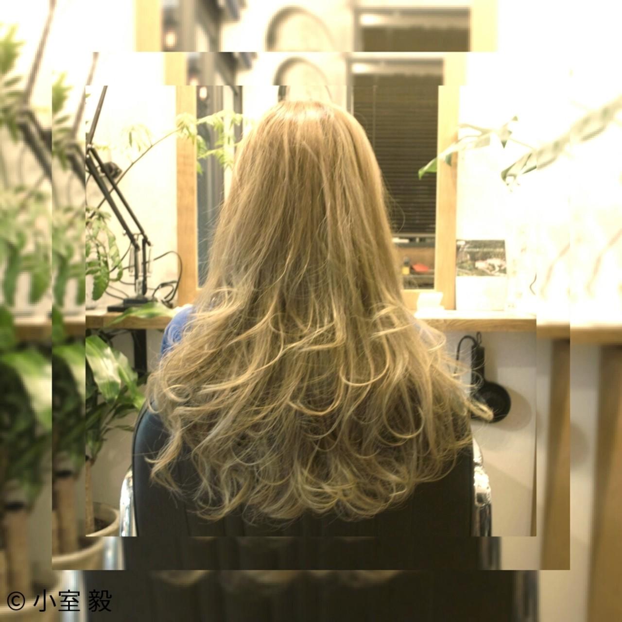 ハイトーン ロング ガーリー グラデーションカラー ヘアスタイルや髪型の写真・画像