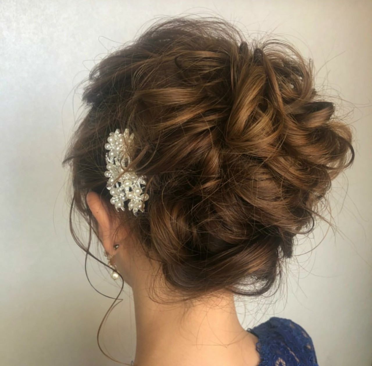 編み込みヘア 結婚式髪型 ヘアセット ナチュラル ヘアスタイルや髪型の写真・画像