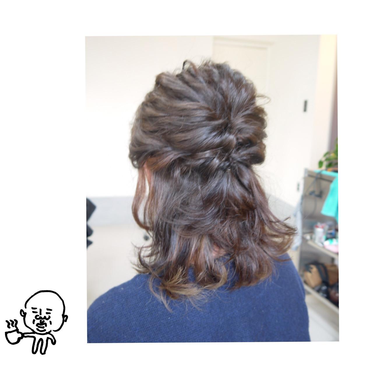 ミディアム ナチュラル ヘアアレンジ 結婚式 ヘアスタイルや髪型の写真・画像 | iwamoto atsushi / kamome. / カモメ美容室