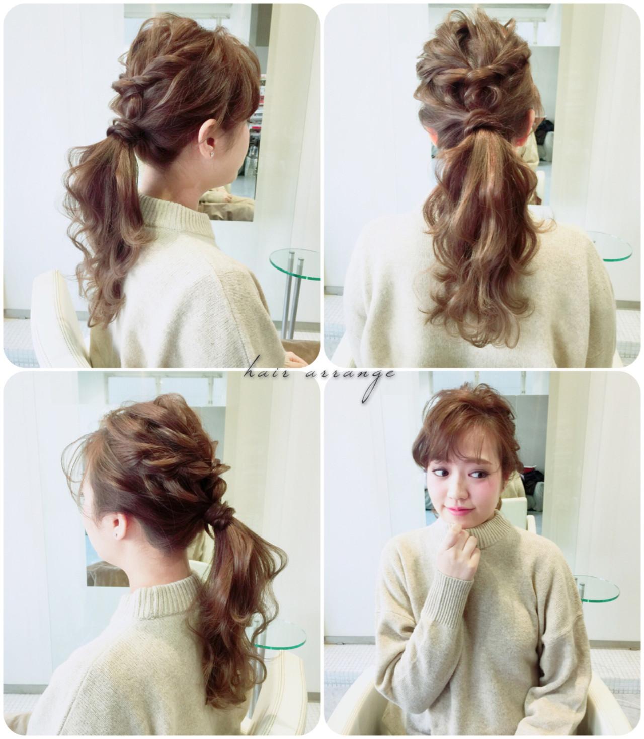 トップをツイストして、 襟足の髪の毛を結んでバランスよく整えたら完成。