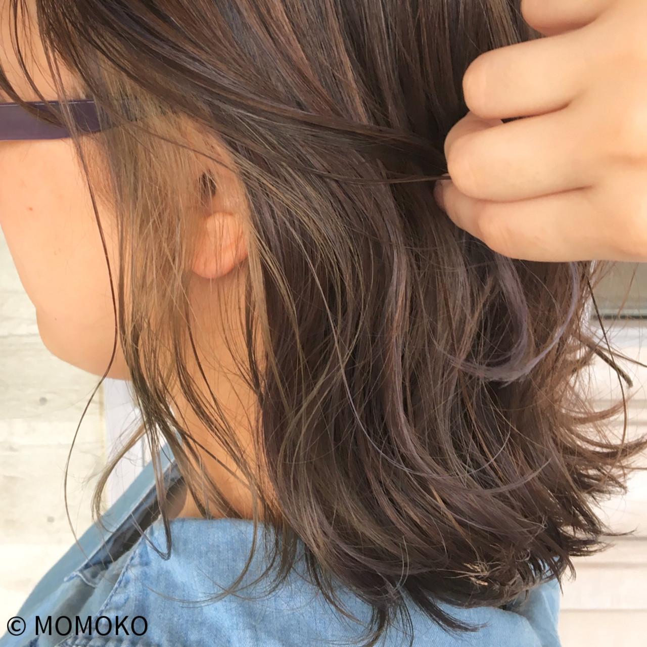 ナチュラル グレージュ ヘアアレンジ インナーカラー ヘアスタイルや髪型の写真・画像