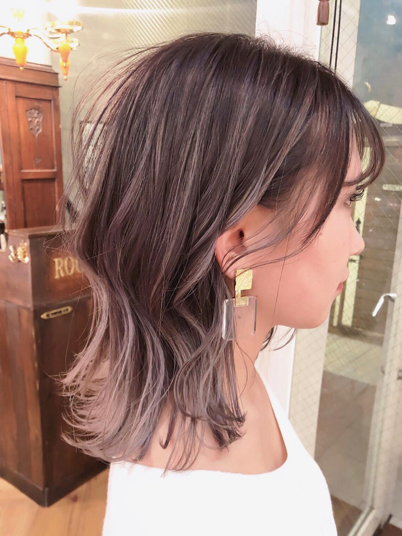 外国人風カラー インナーカラー ミディアム 透明感カラー ヘアスタイルや髪型の写真・画像 | 斉藤潤一 / ROCO  SPEARZ