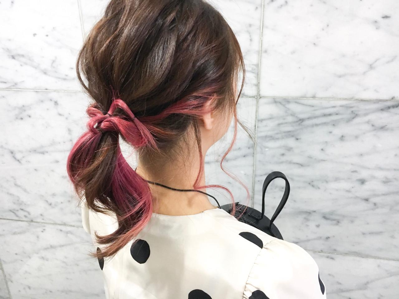 ストリート ダブルカラー ピンク ヘアアレンジ ヘアスタイルや髪型の写真・画像 | emi【till】 / till