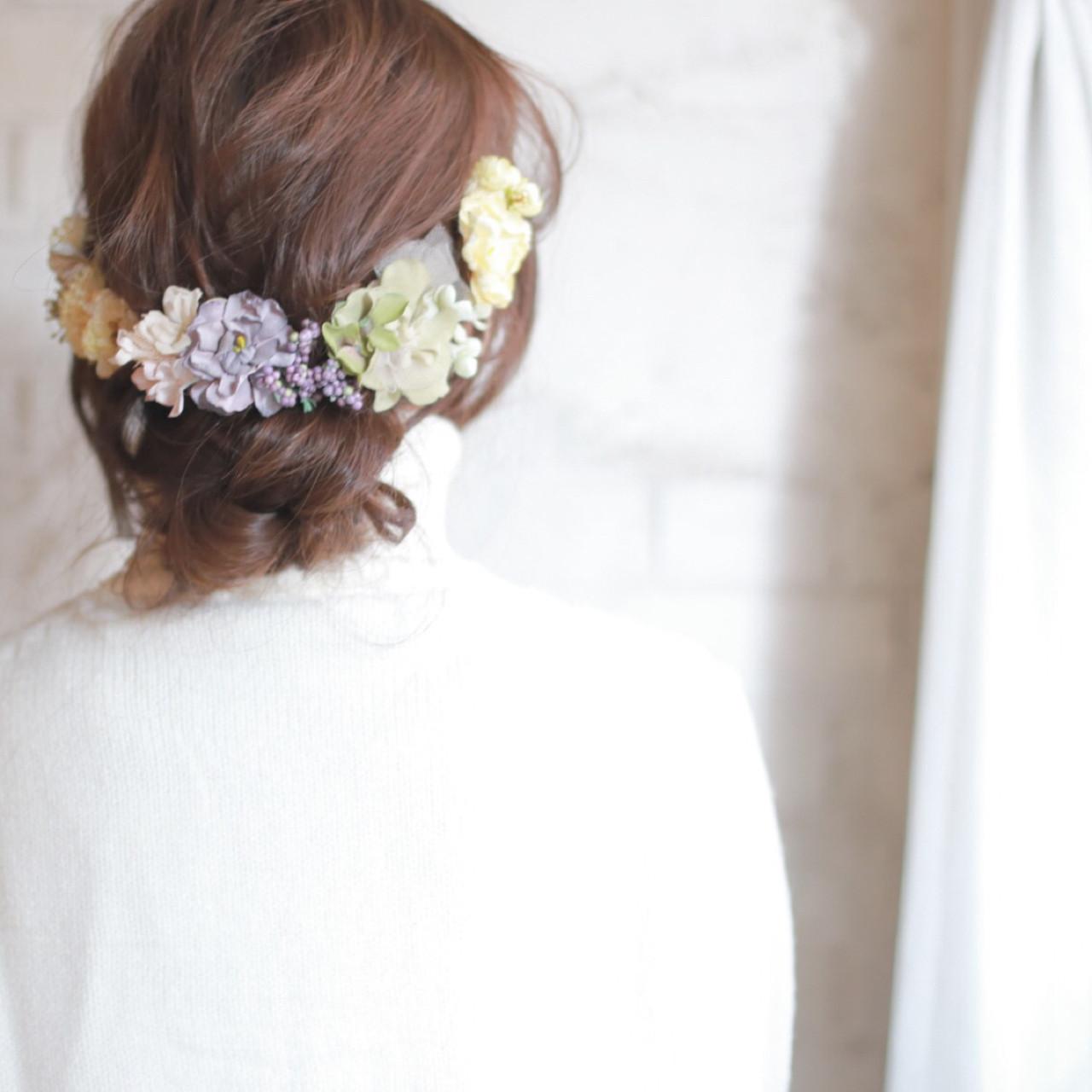 結婚式 ショート ヘアアレンジ パーティ ヘアスタイルや髪型の写真・画像 | 廣田哲也 / nalu hair