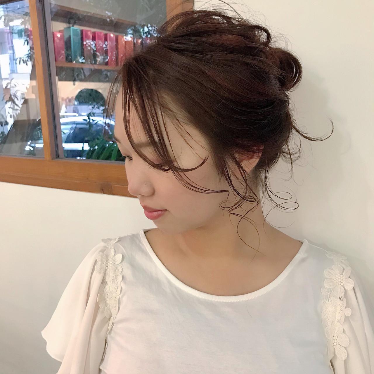 グラデーションカラー ピンク 結婚式 ミディアム ヘアスタイルや髪型の写真・画像